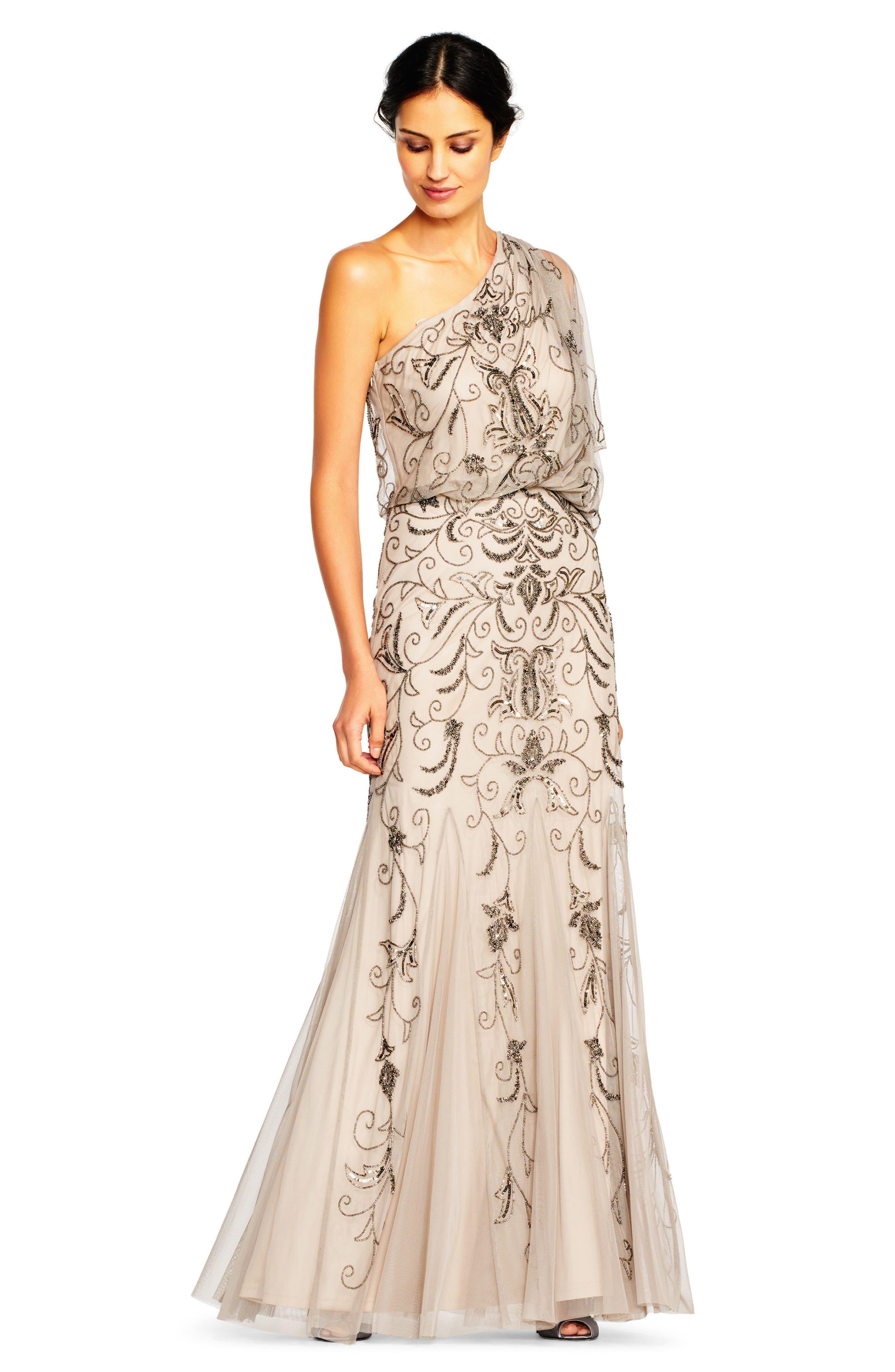 Beaded One-Shoulder Blouson Gown,                             Alternate thumbnail 5, color,                             036