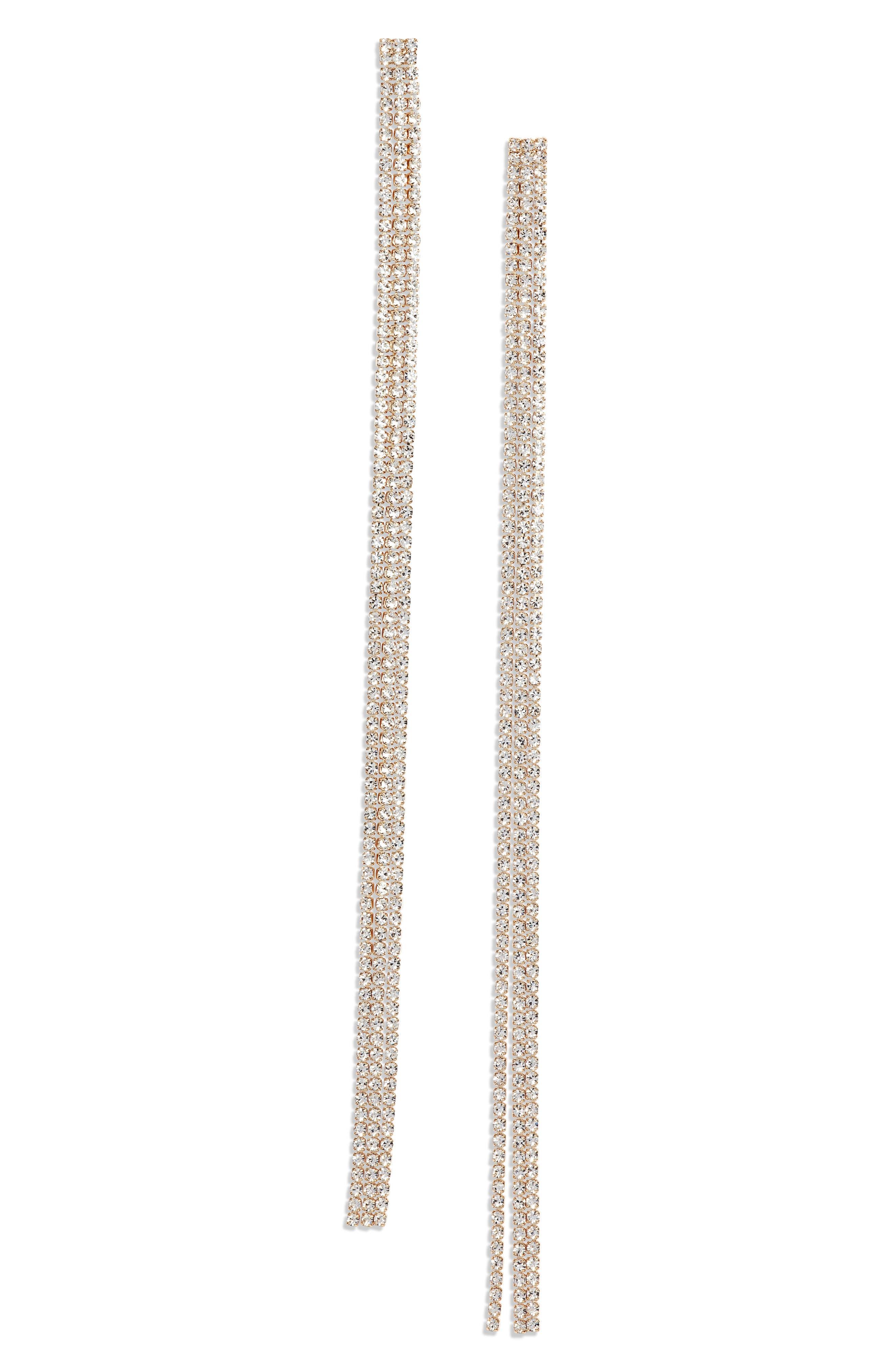 Long Drama Linear Earrings,                             Main thumbnail 1, color,                             CLEAR- GOLD