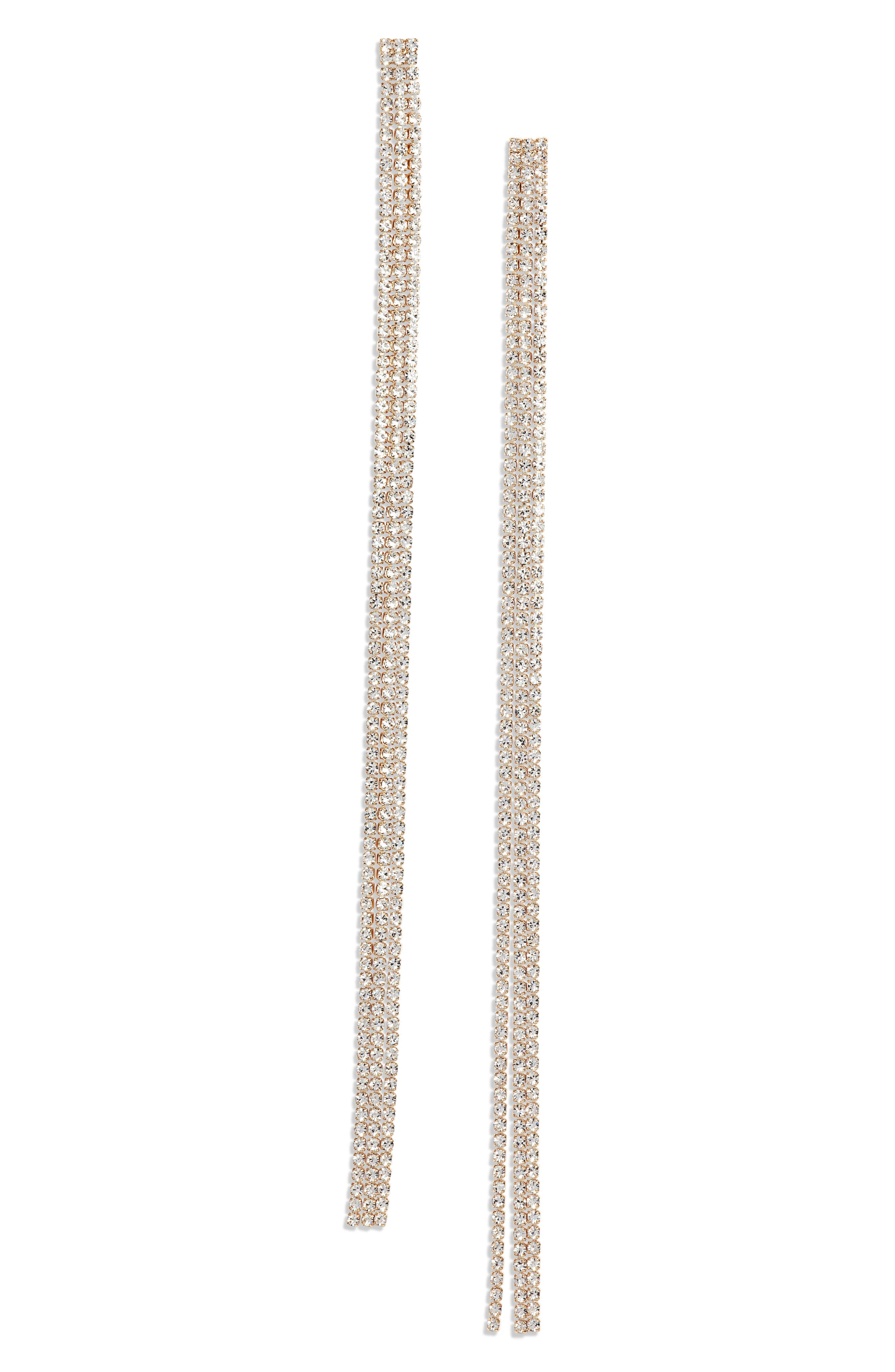 Long Drama Linear Earrings, Main, color, CLEAR- GOLD