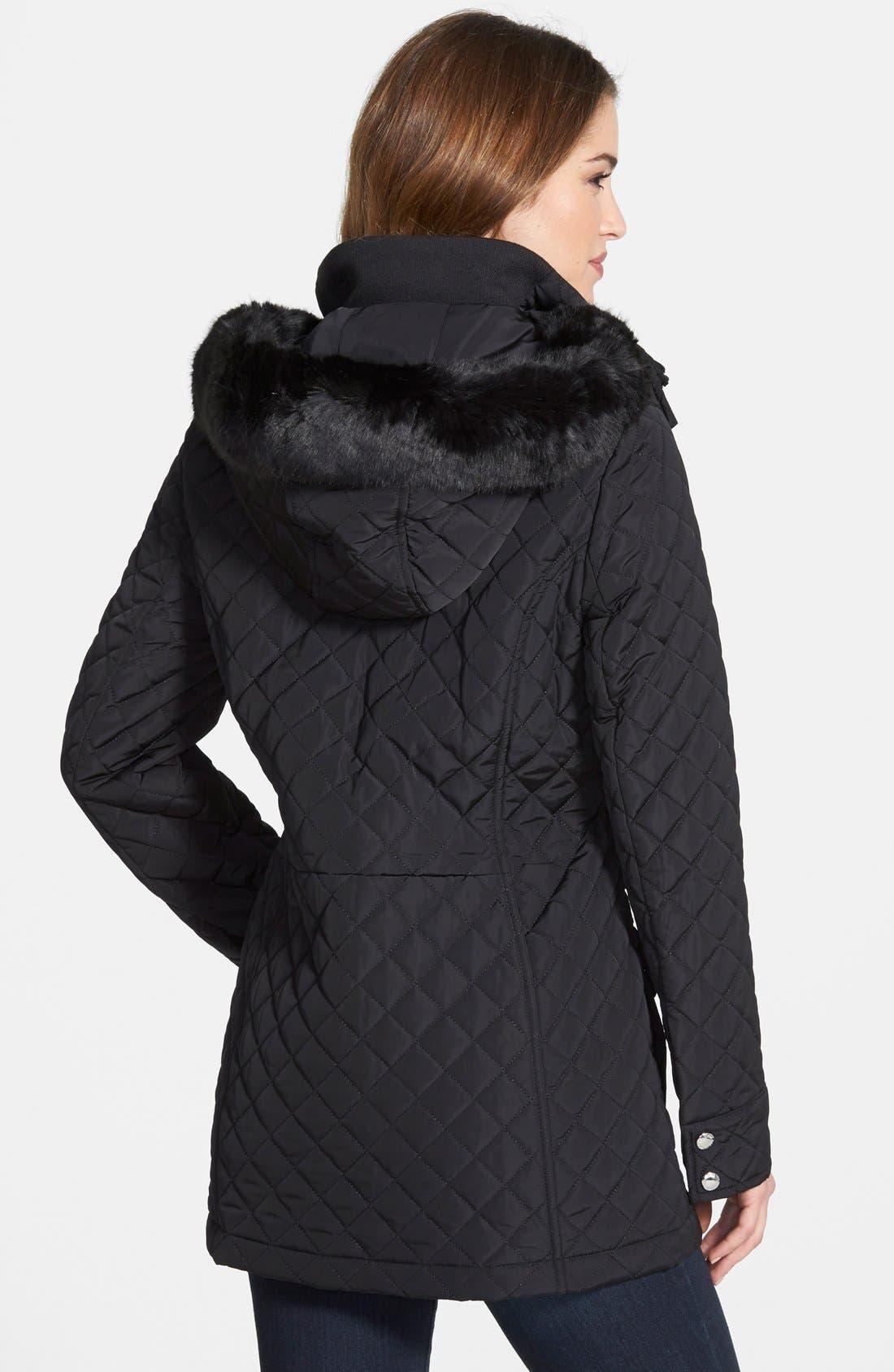 Quilted Coat with Detachable Faux Fur Trim Hood,                             Alternate thumbnail 2, color,                             001
