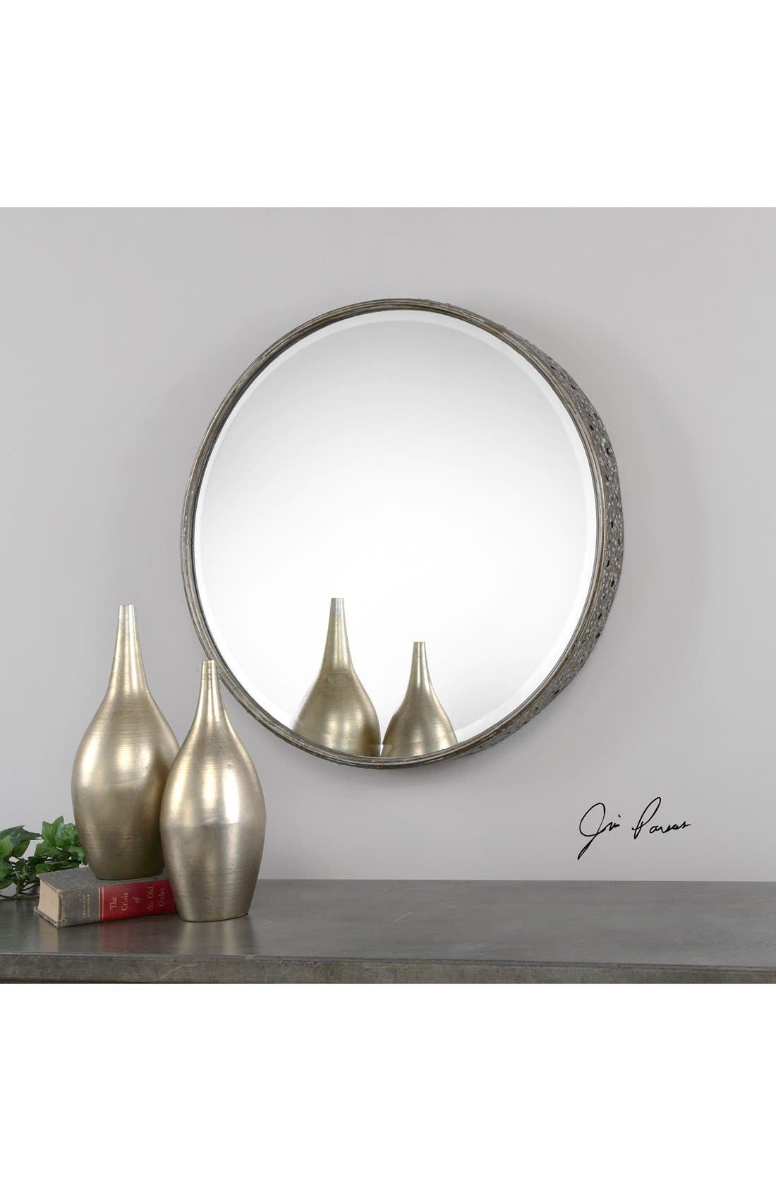 'Nova' Round Metal Mirror,                             Alternate thumbnail 2, color,