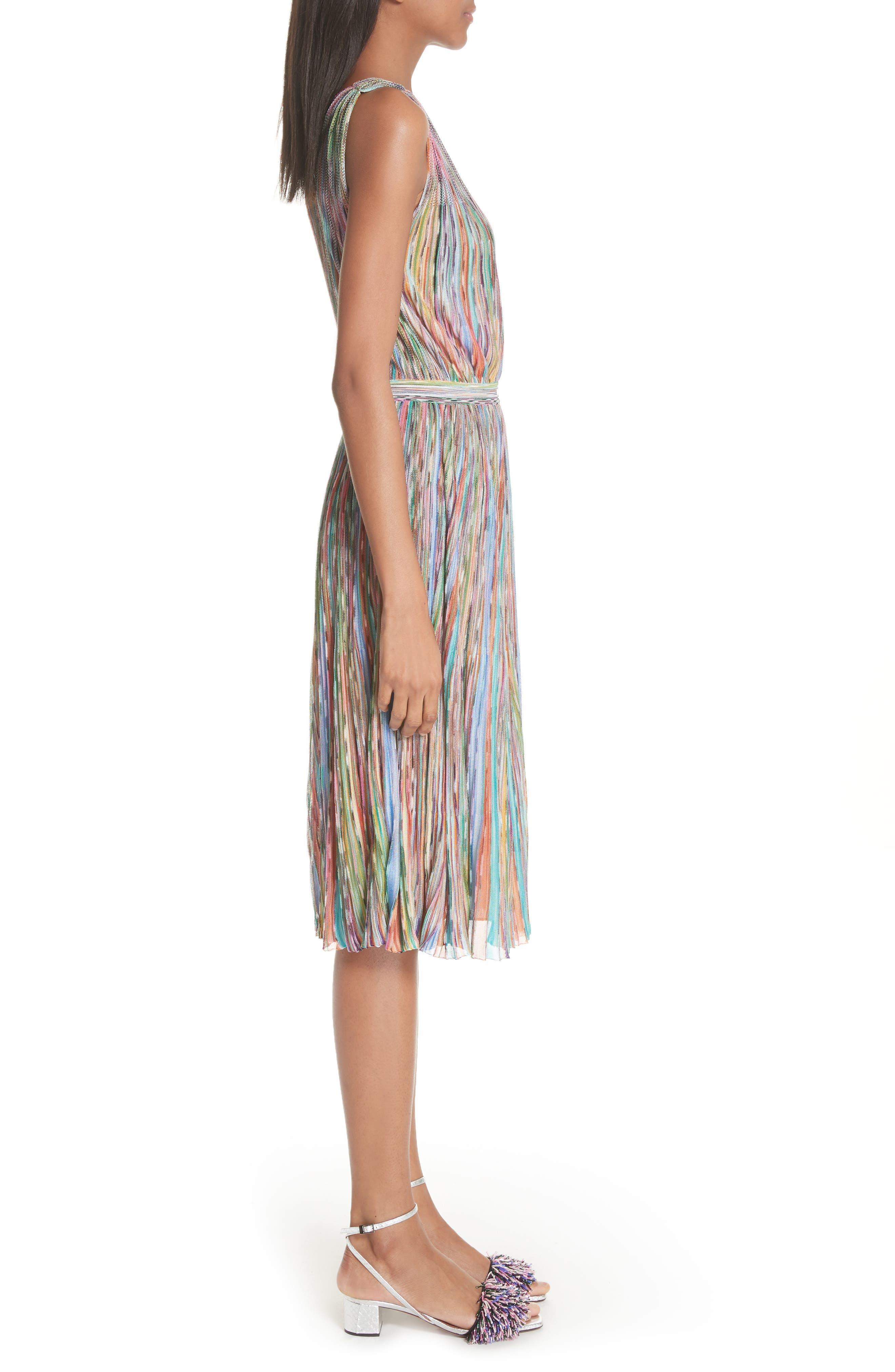 Surplice Neck Stripe Midi Dress,                             Alternate thumbnail 3, color,                             650