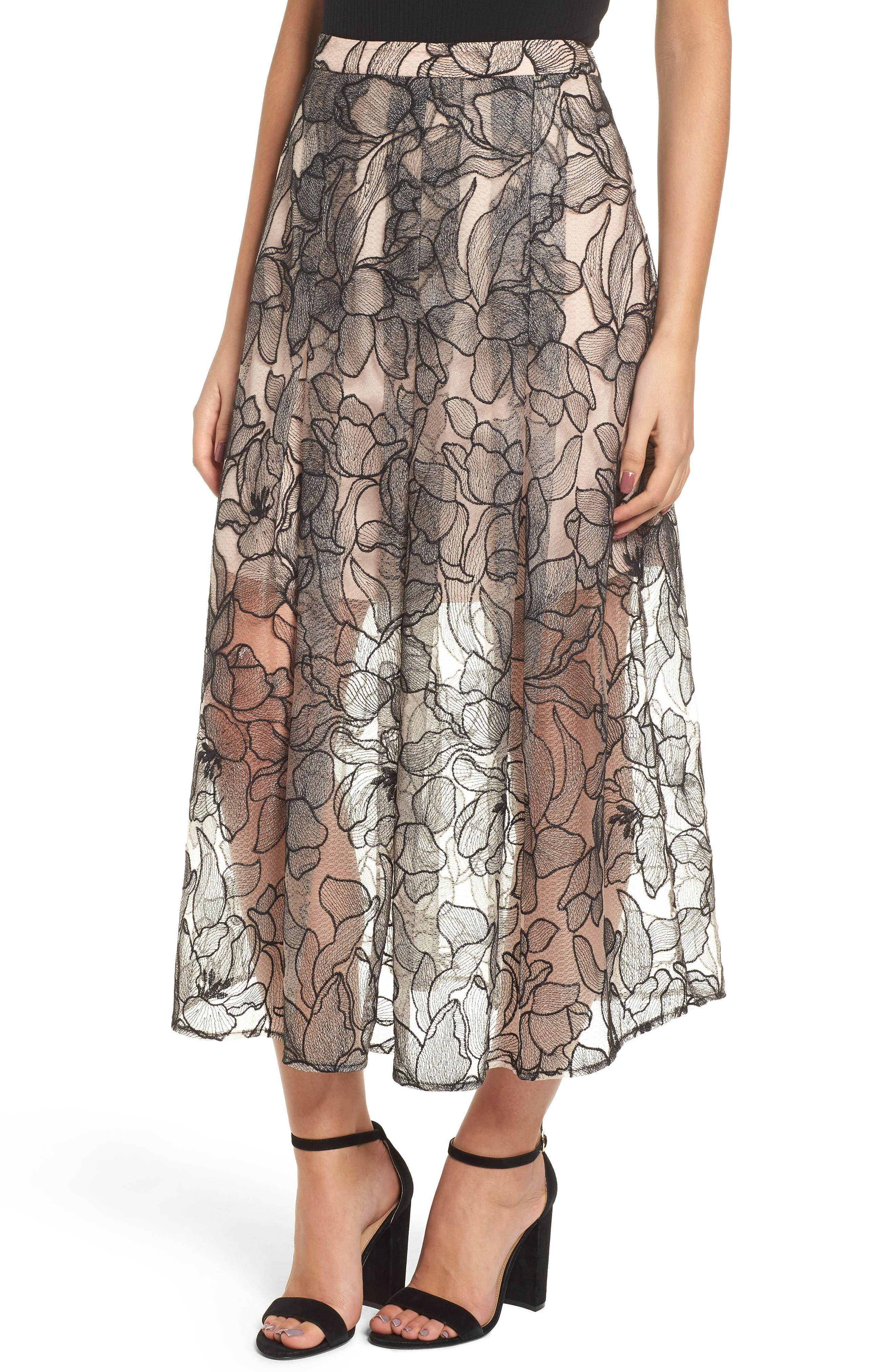 Pleated Lace Skirt,                             Main thumbnail 1, color,                             BLACK / NUDE EMBROIDERY