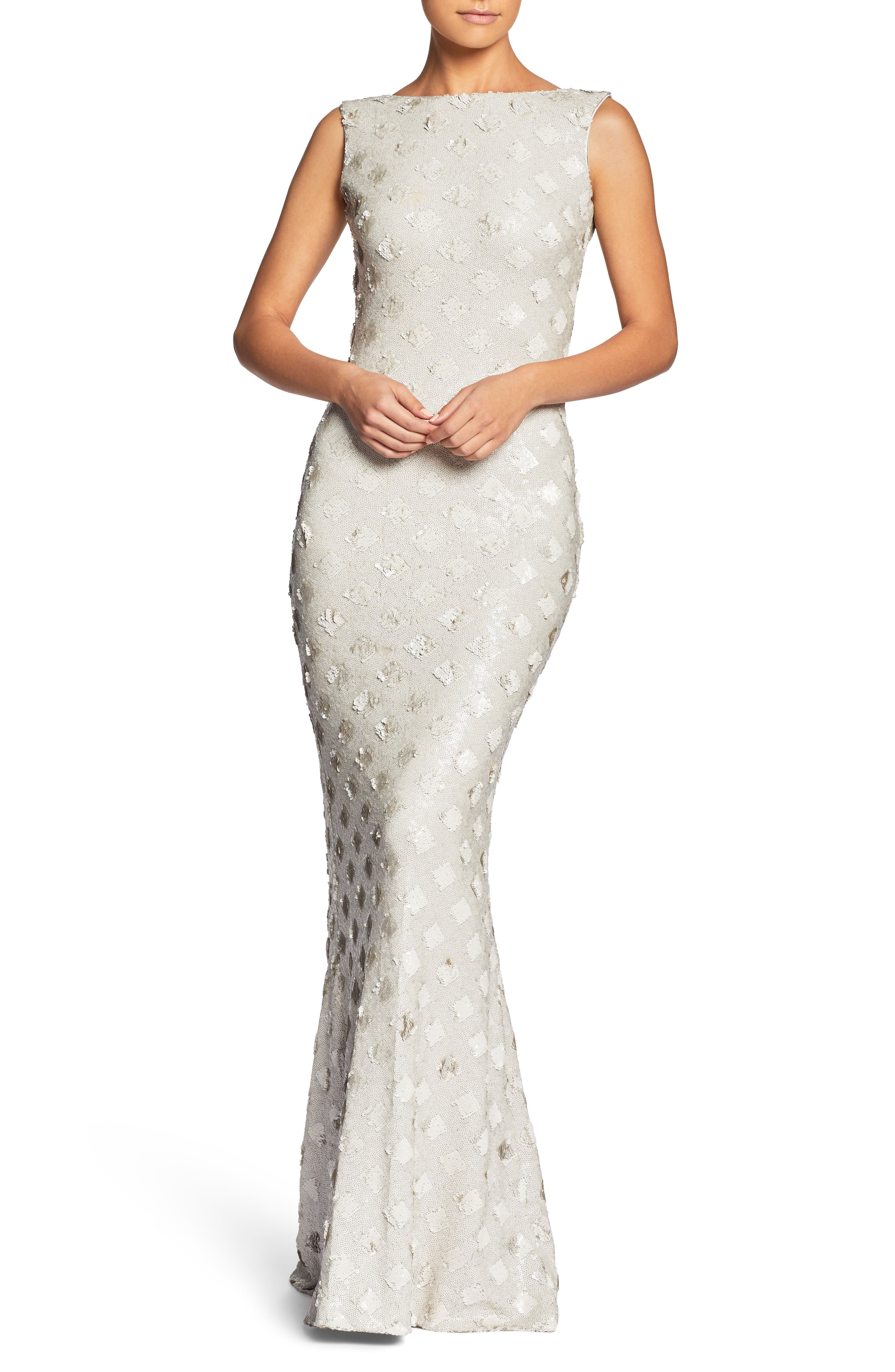Dress The Population Yvette Sequin Trumpet Gown, White