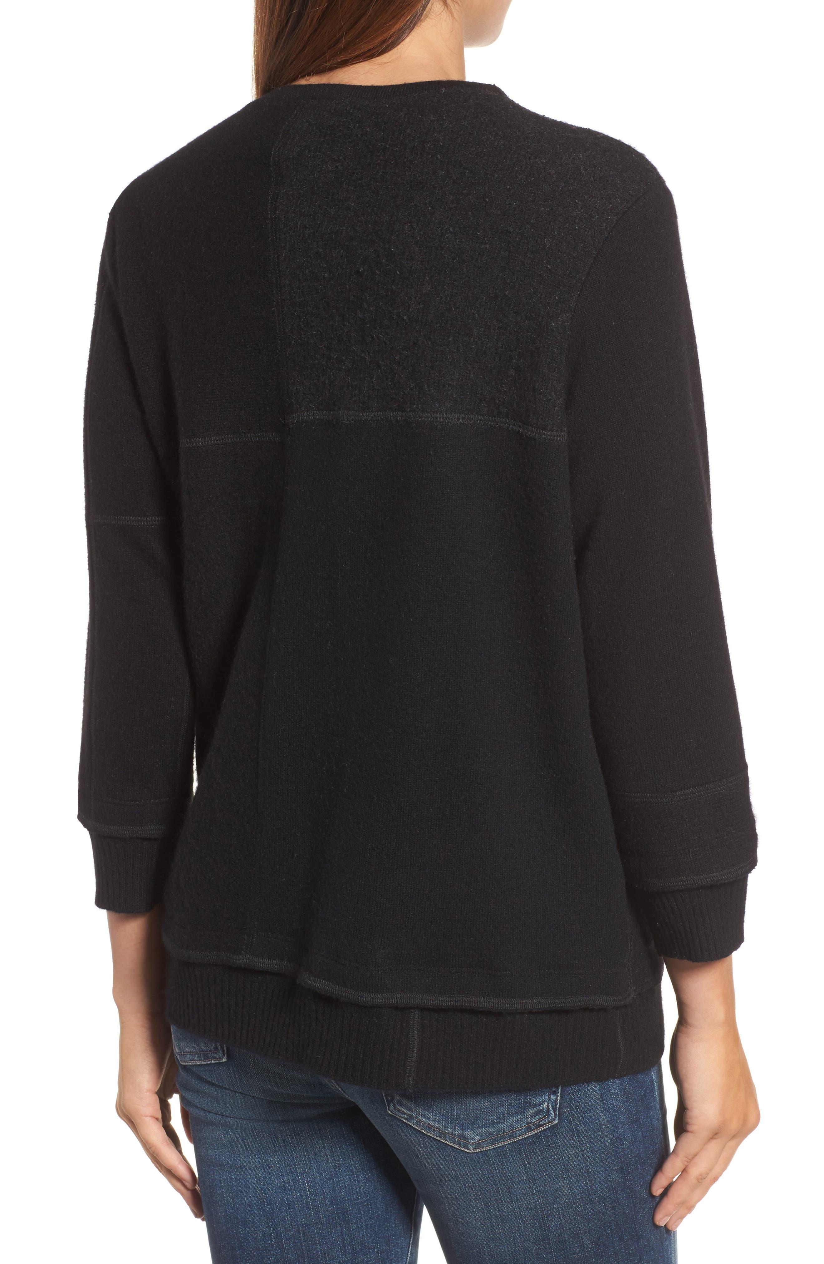 Colorblock Cashmere Sweater,                             Alternate thumbnail 2, color,                             001