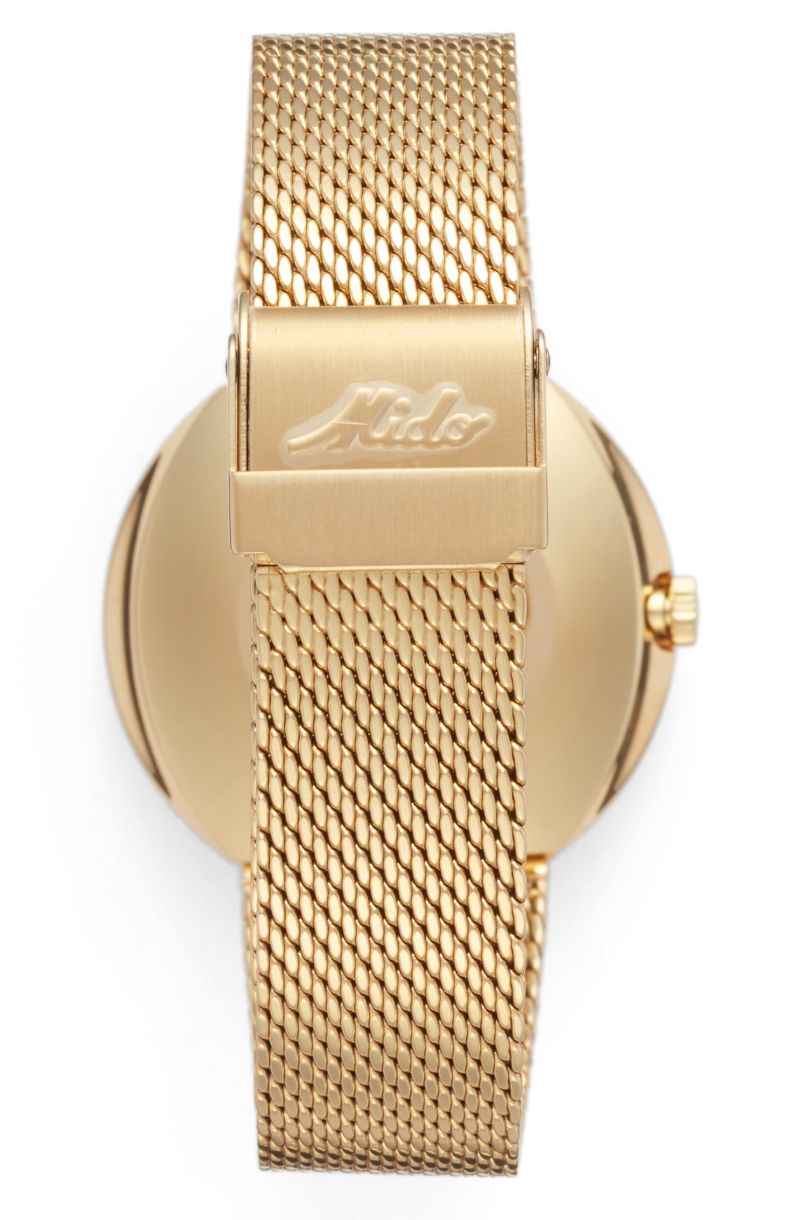 Commander Automatic Mesh Strap Watch, 37mm,                             Alternate thumbnail 2, color,                             GOLD/ BLACK/ GOLD