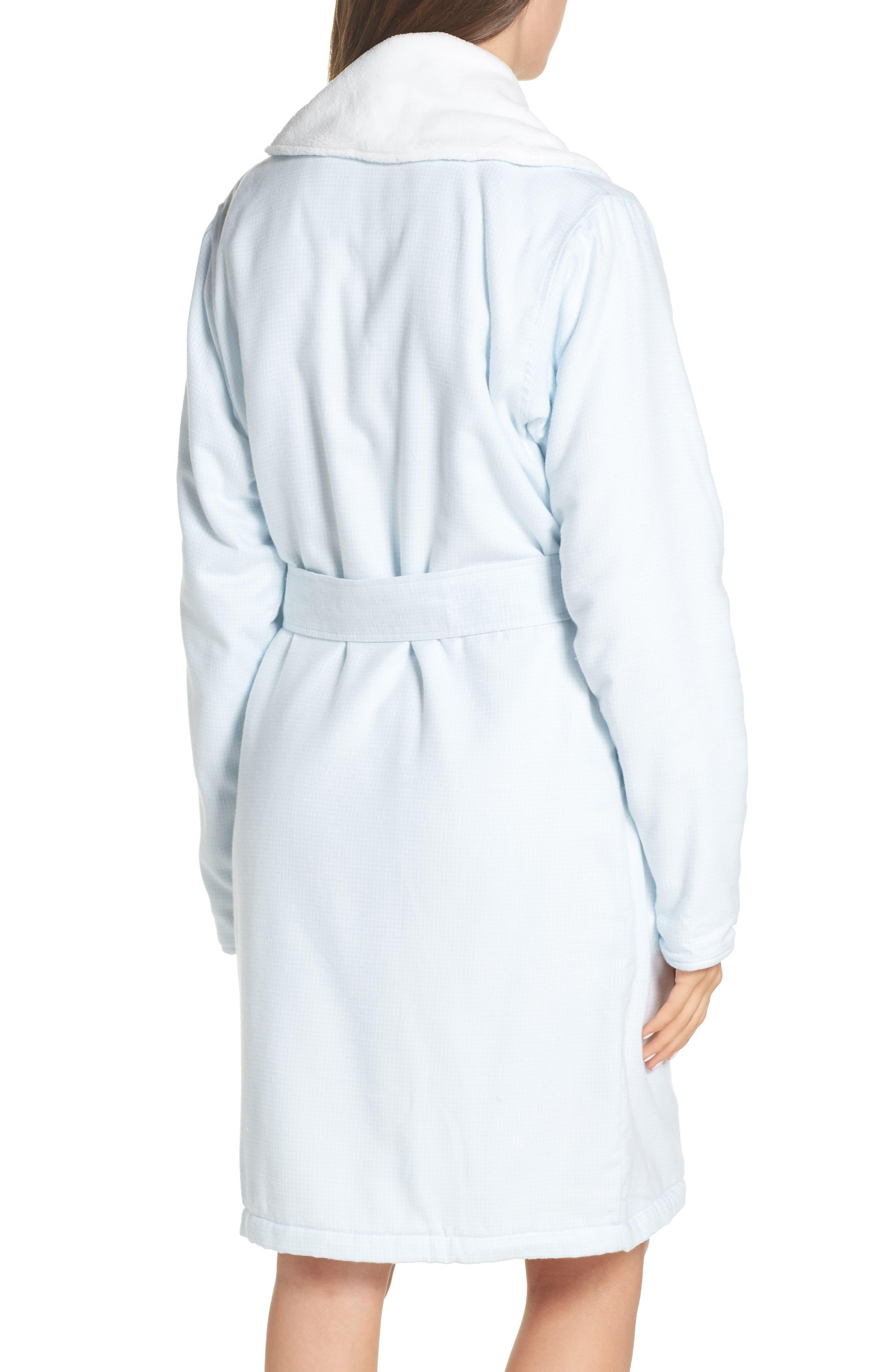 Anika Fleece Lined Flannel Robe,                             Alternate thumbnail 2, color,                             SKY BLUE / WHITE CHECK