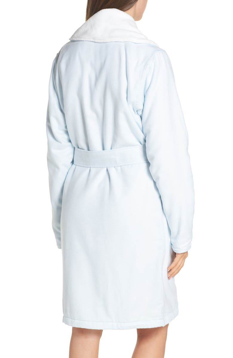 Ugg Anika Fleece Lined Flannel Robe In Sky Blue   White Check  9b4826946