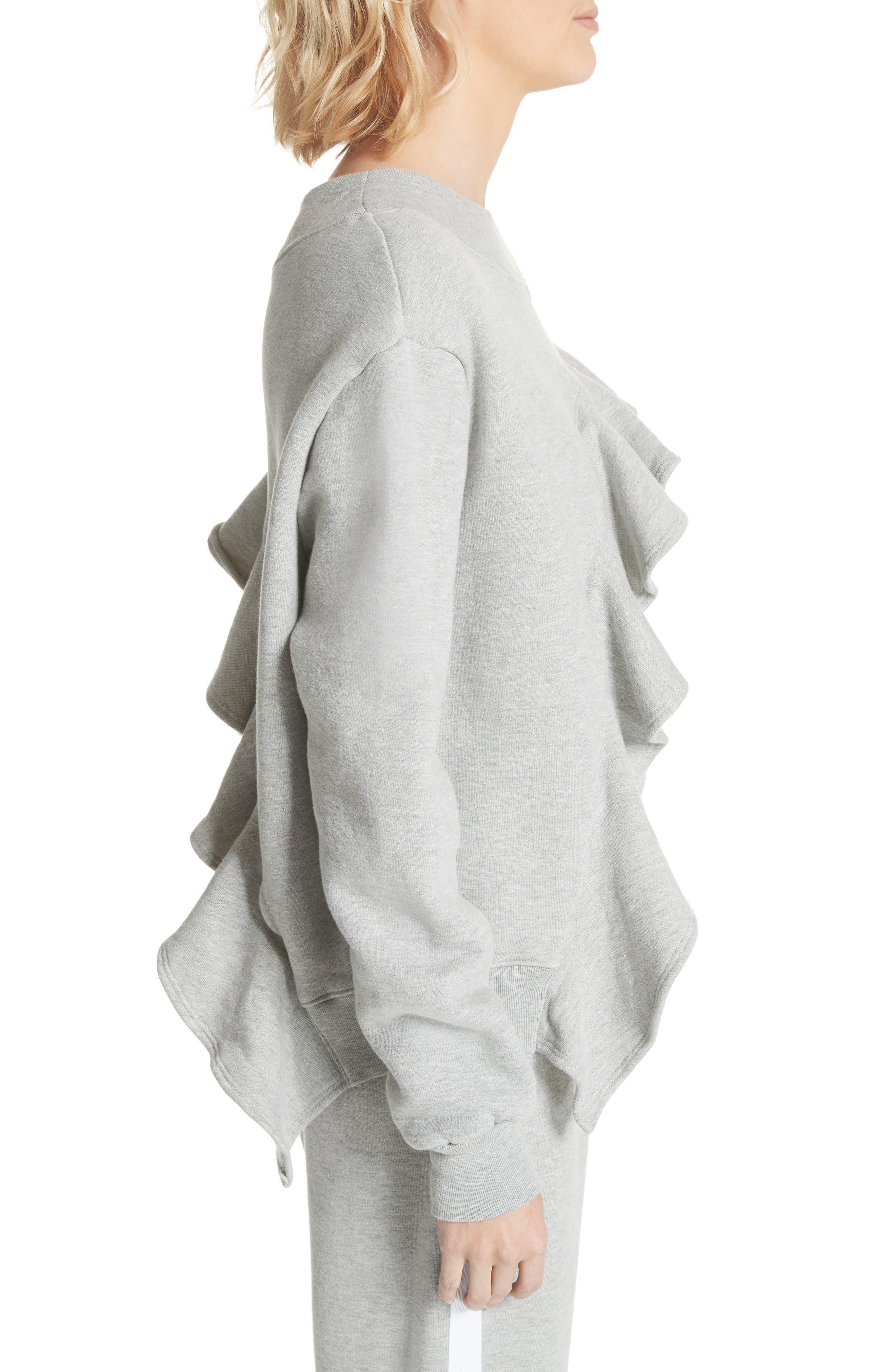 Asymmetrical Ruffle Sweatshirt,                             Alternate thumbnail 3, color,                             060