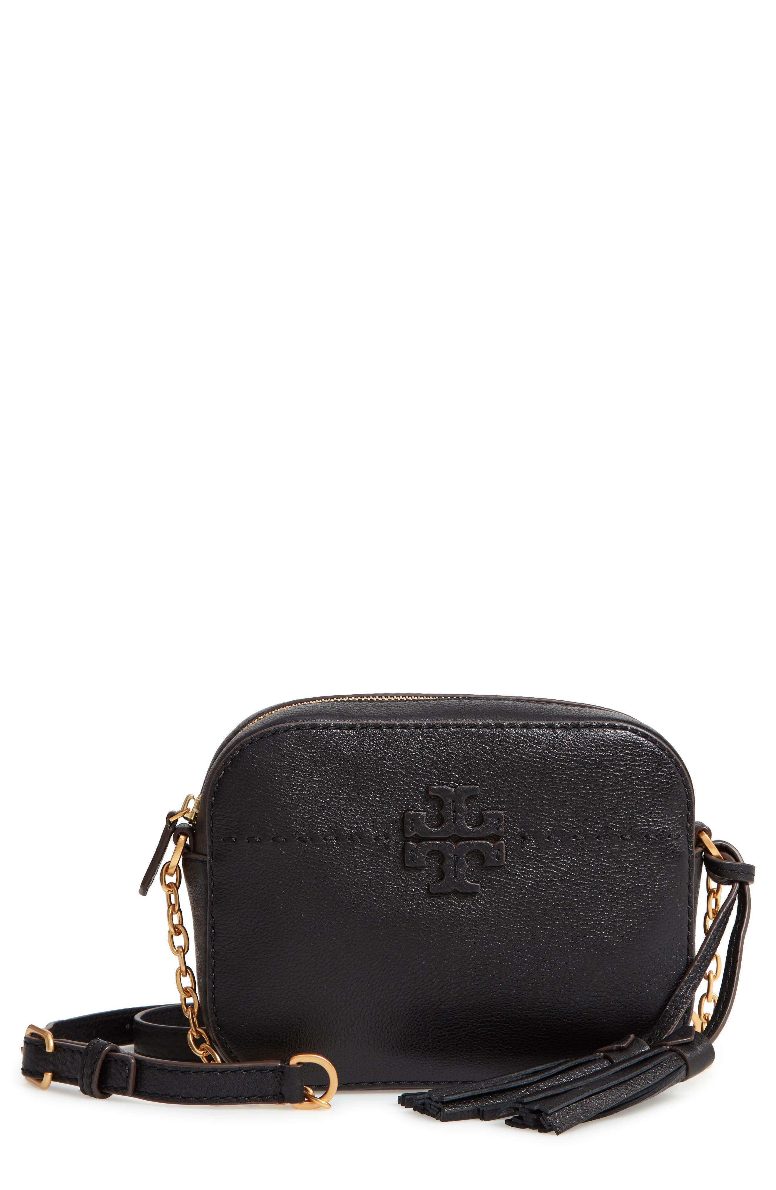 McGraw Leather Camera Bag,                             Main thumbnail 1, color,                             BLACK