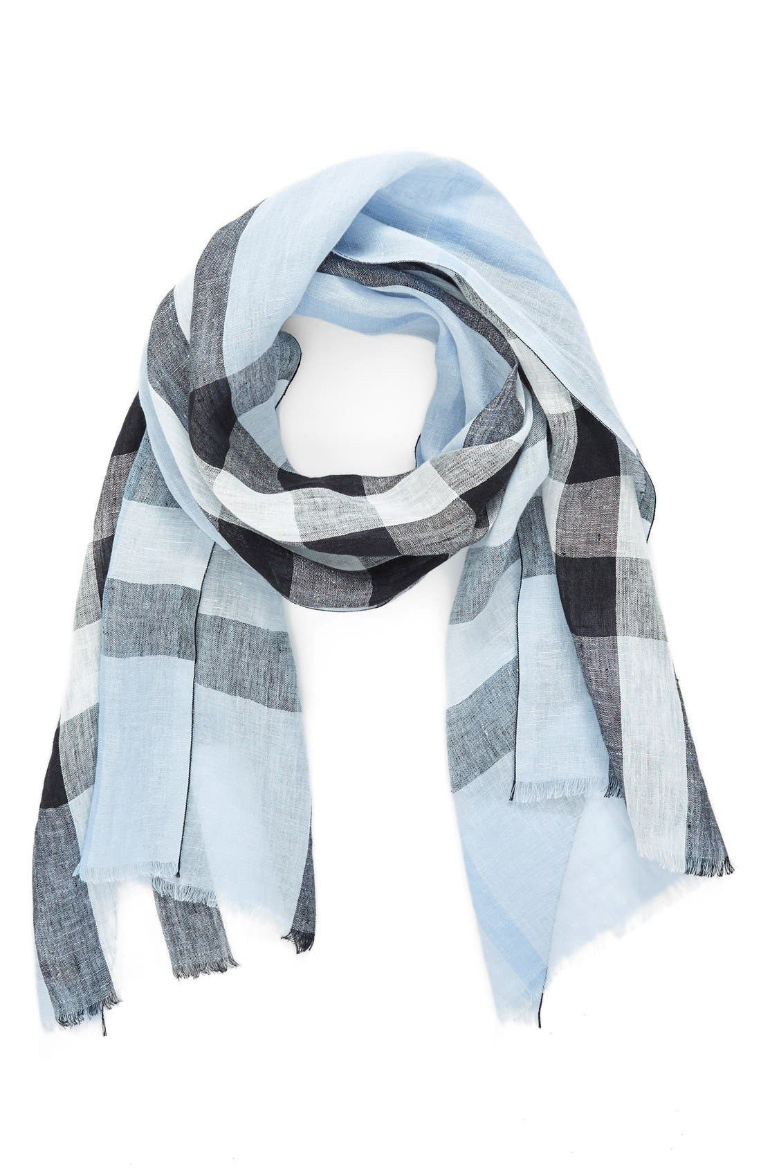 BURBERRY,                             Exploded Check Linen Scarf,                             Main thumbnail 1, color,                             451