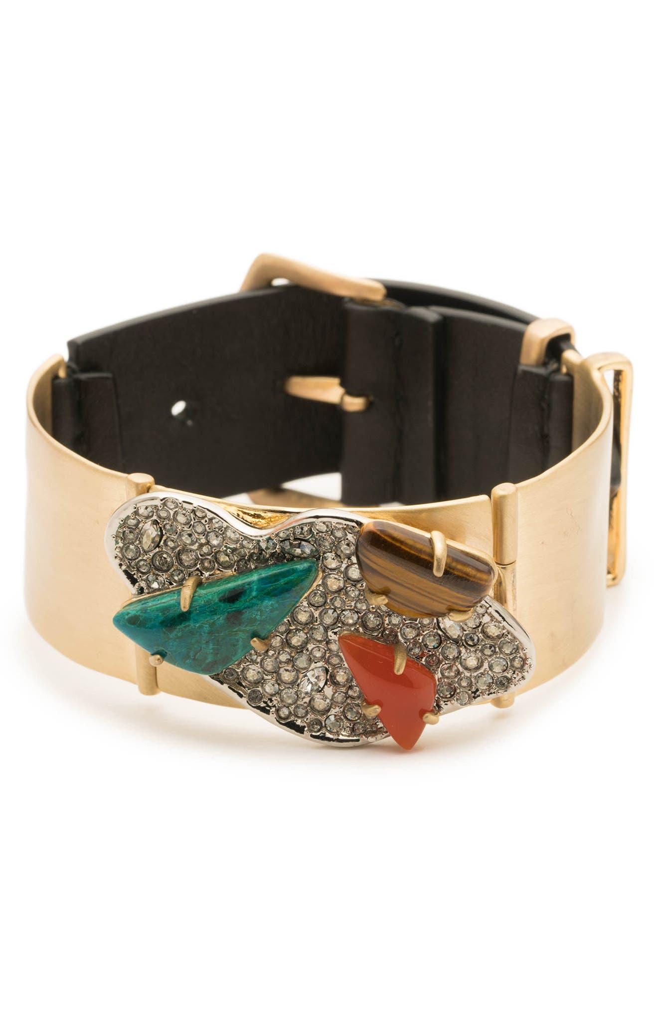 Crystal Encrusted Leather Strap Bracelet,                         Main,                         color, GOLD/ SILVER