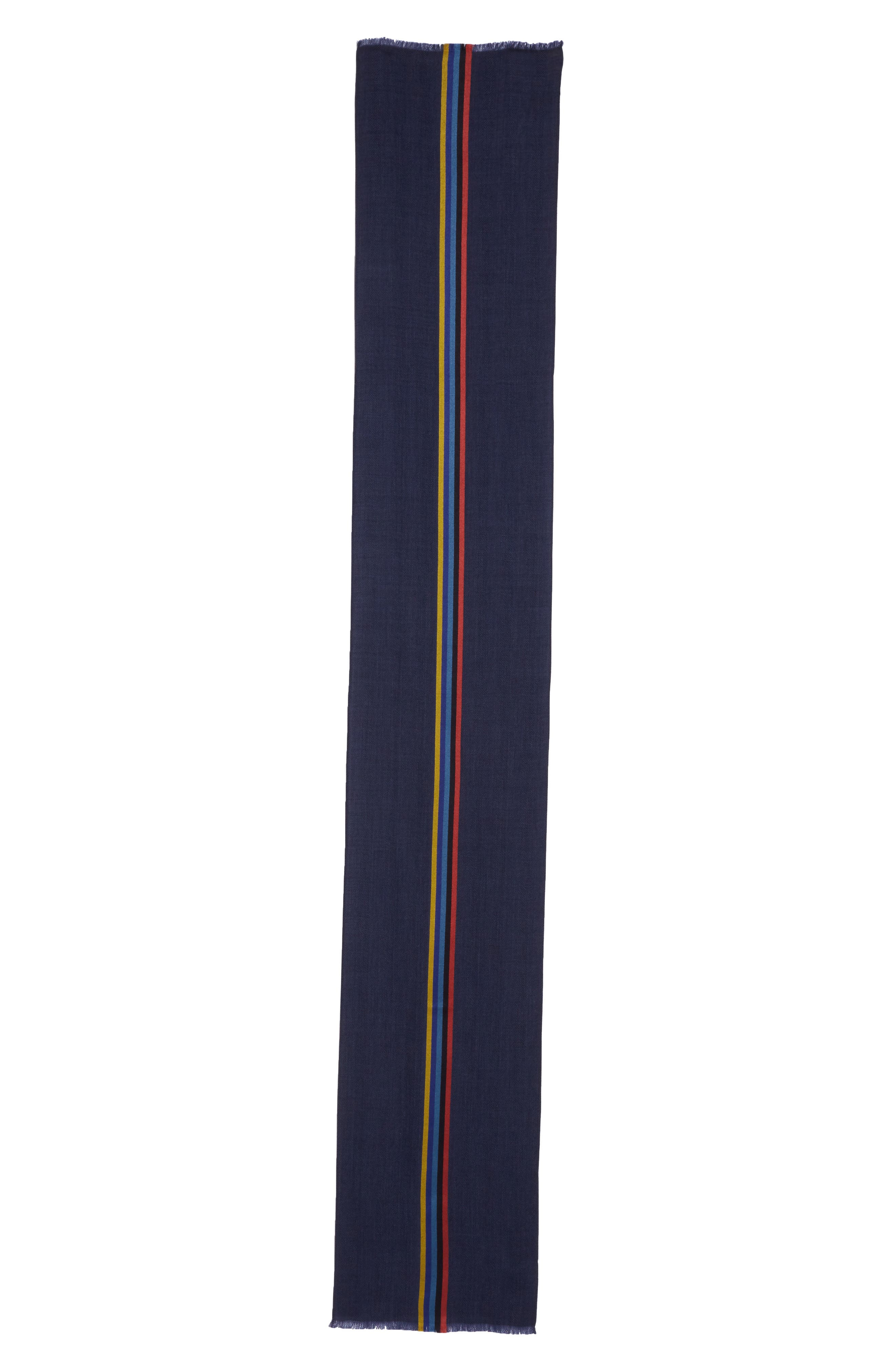 Central Stripe Wool & Silk Scarf,                             Alternate thumbnail 6, color,