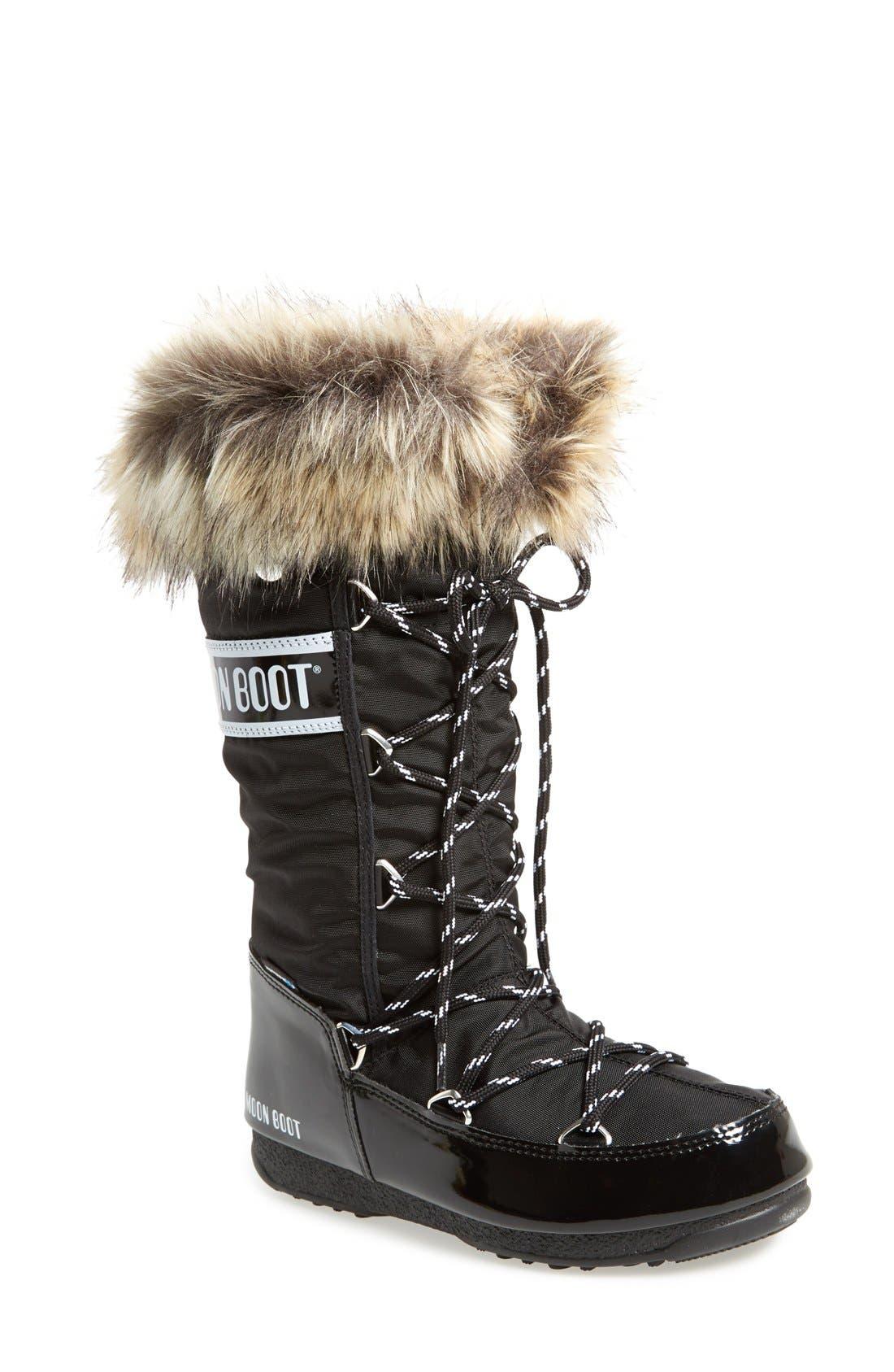 'Monaco' Waterproof Insulated Moon Boot<sup>®</sup>,                             Main thumbnail 1, color,                             001