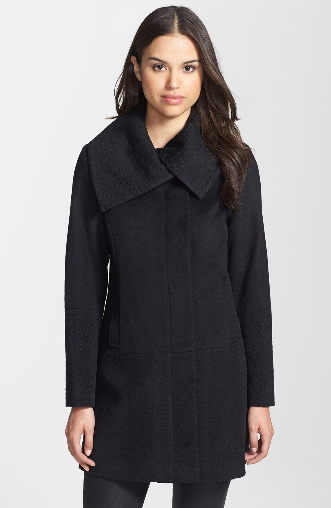 Solid & Jacquard Wool Blend Coat, Main, color, 001