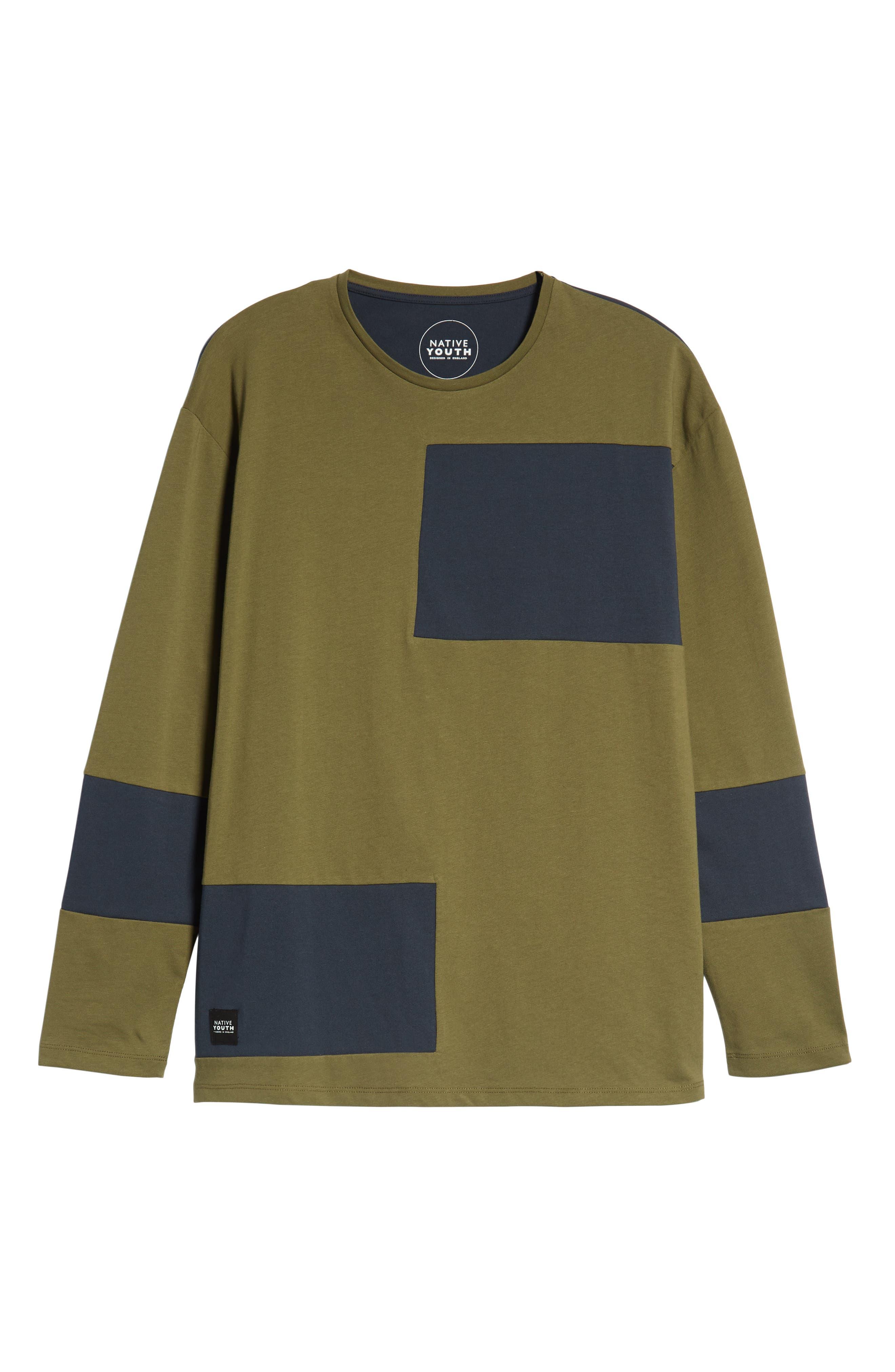 Colorblock Long Sleeve T-Shirt,                             Alternate thumbnail 6, color,                             OLIVE