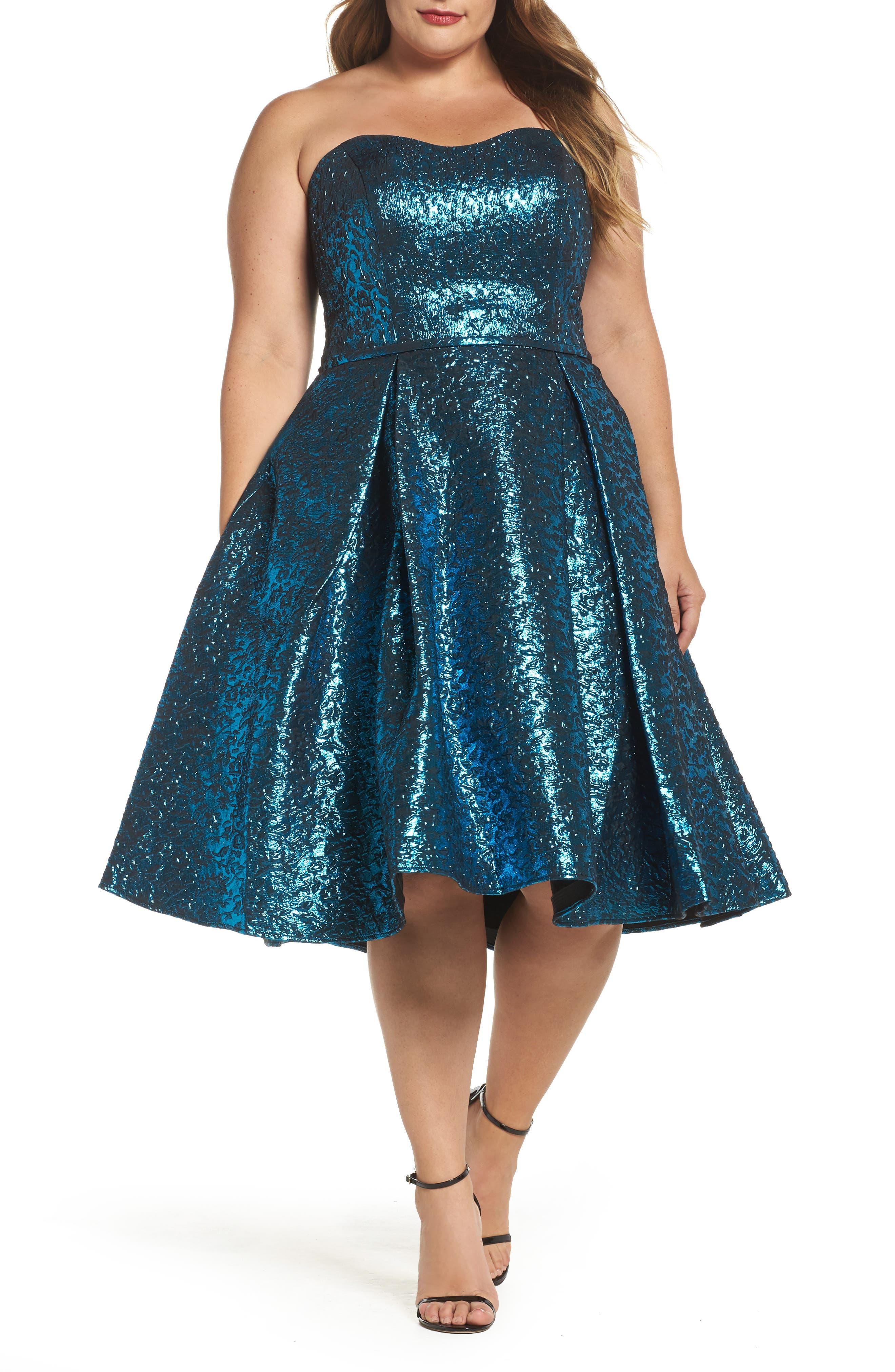 plus size women's mac duggal metallic fit & flare dress, size 14w - blue