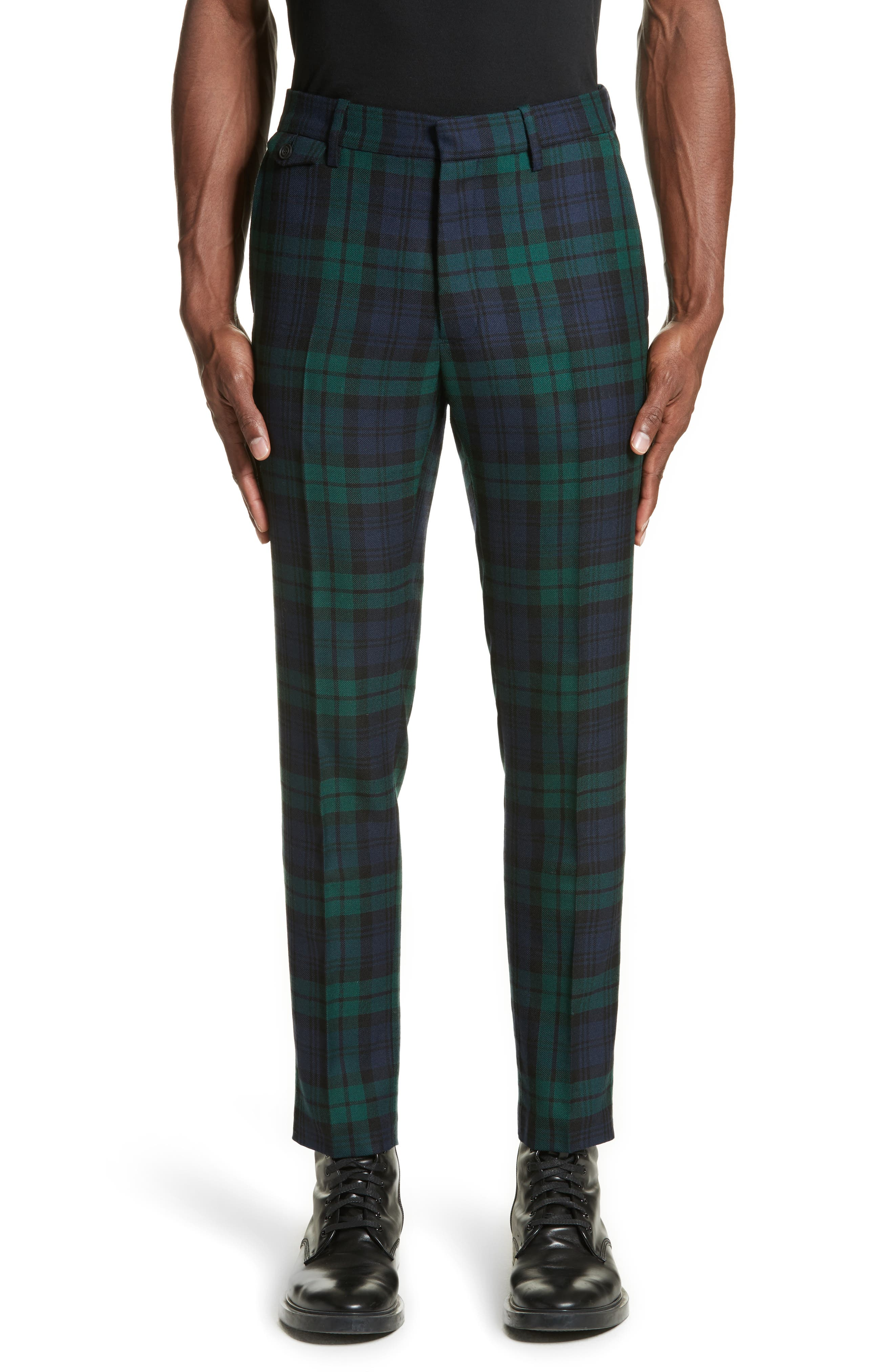 BURBERRY Serpentine Check Wool Pants, Main, color, 410