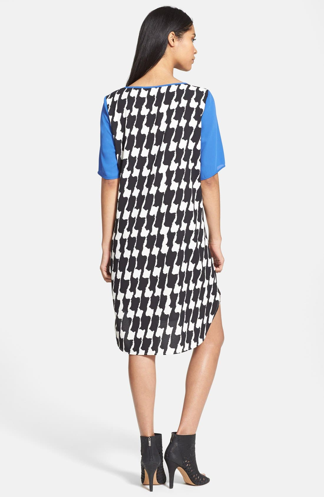 Contrast Trim Crepe T-Shirtdress,                             Alternate thumbnail 2, color,                             007