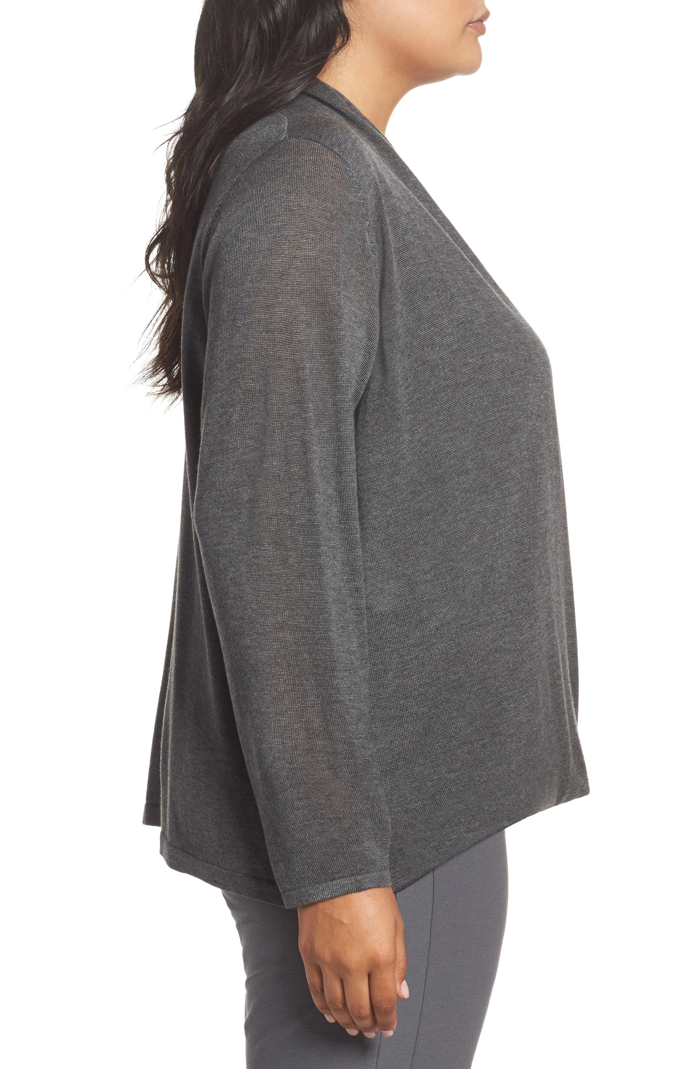 Faux Wrap Tencel<sup>®</sup> Lyocell & Merino Wool Sweater,                             Alternate thumbnail 3, color,