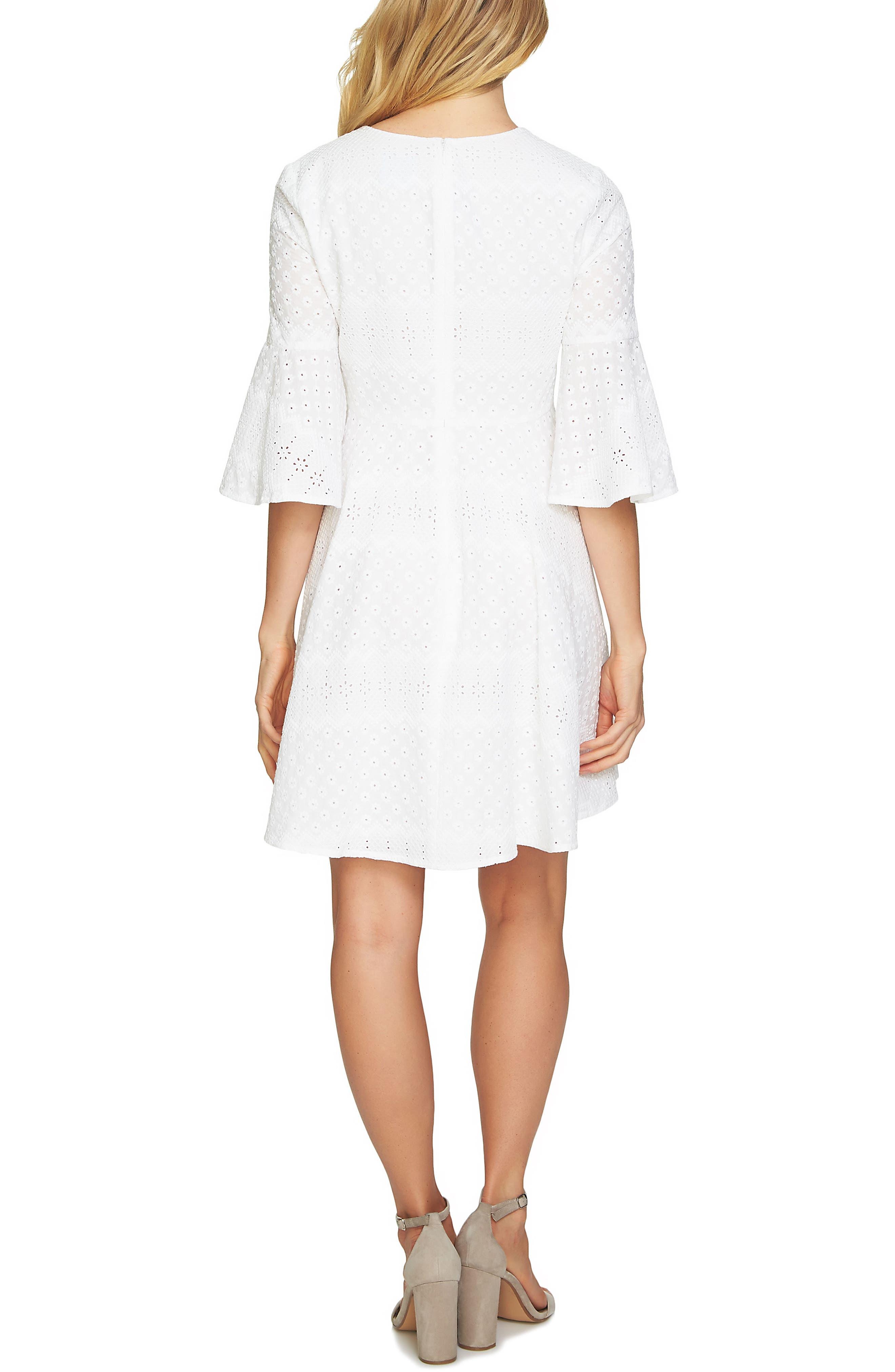 Bell Sleeve Eyelet A-Line Dress,                             Alternate thumbnail 2, color,                             160