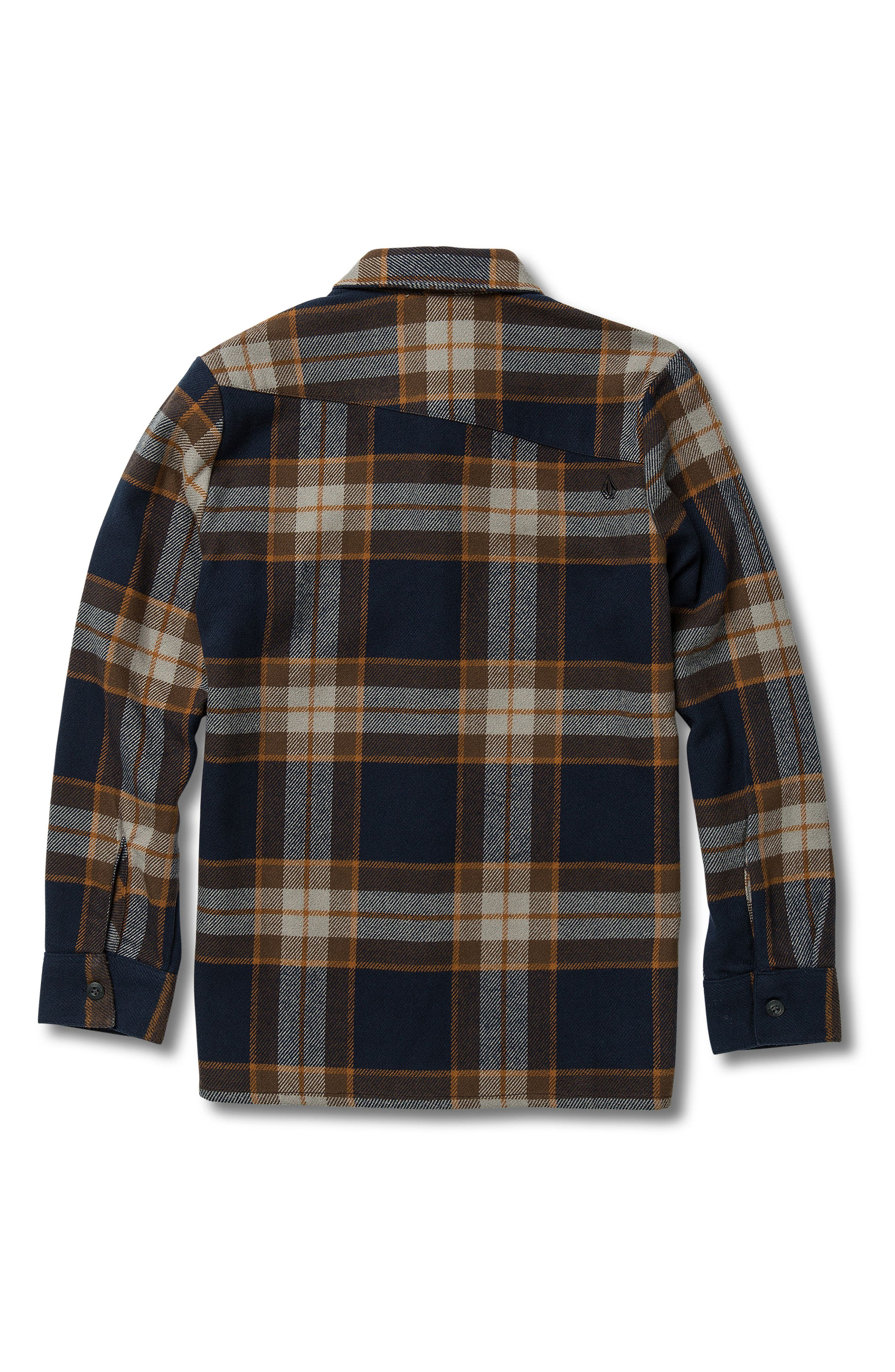 VOLCOM,                             Randower Plaid Flannel Shirt,                             Alternate thumbnail 2, color,                             MELINDIGO