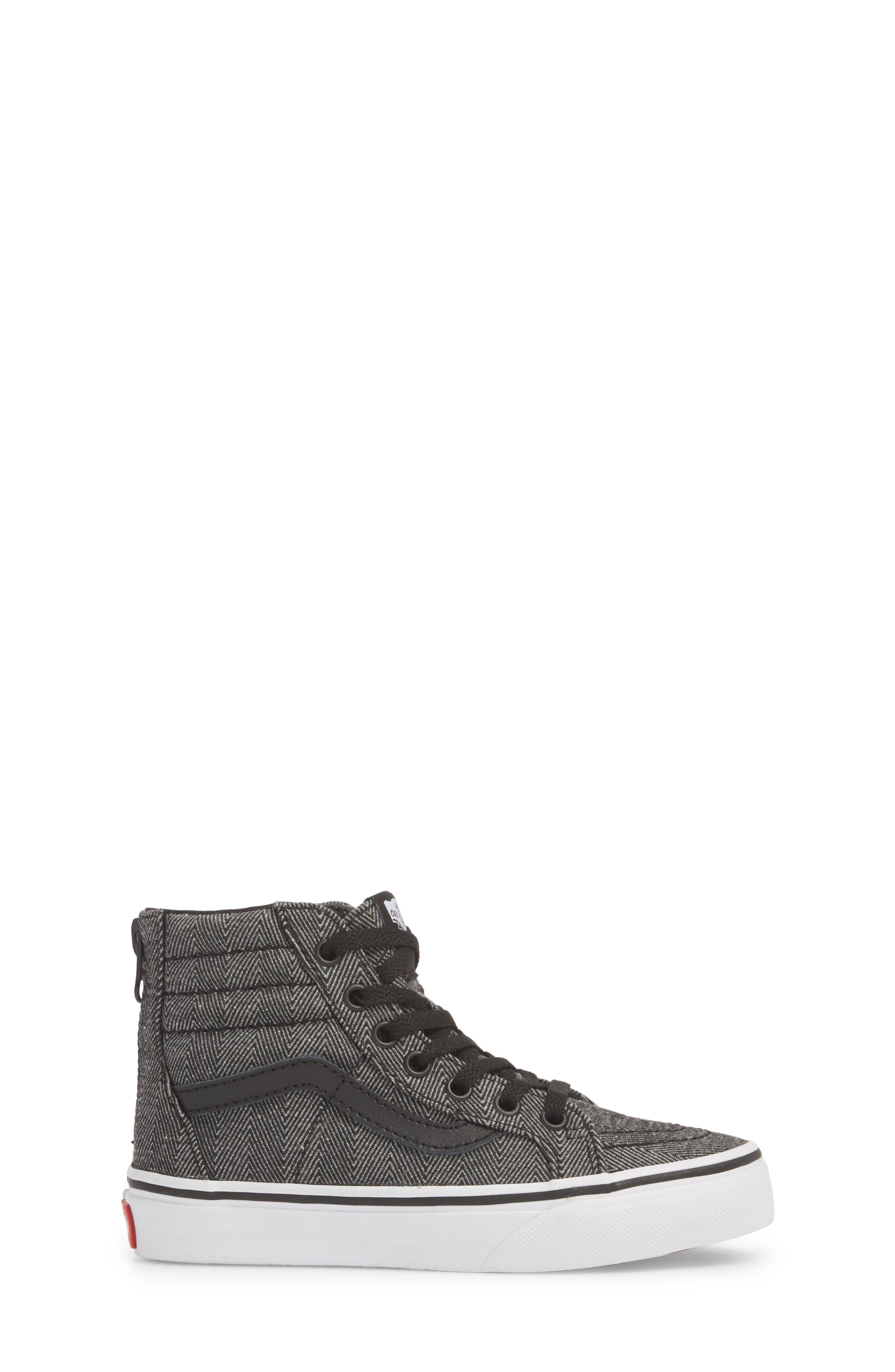 'Sk8-Hi' Sneaker,                             Alternate thumbnail 3, color,                             HERRINGBONE BLACK/ TRUE WHITE