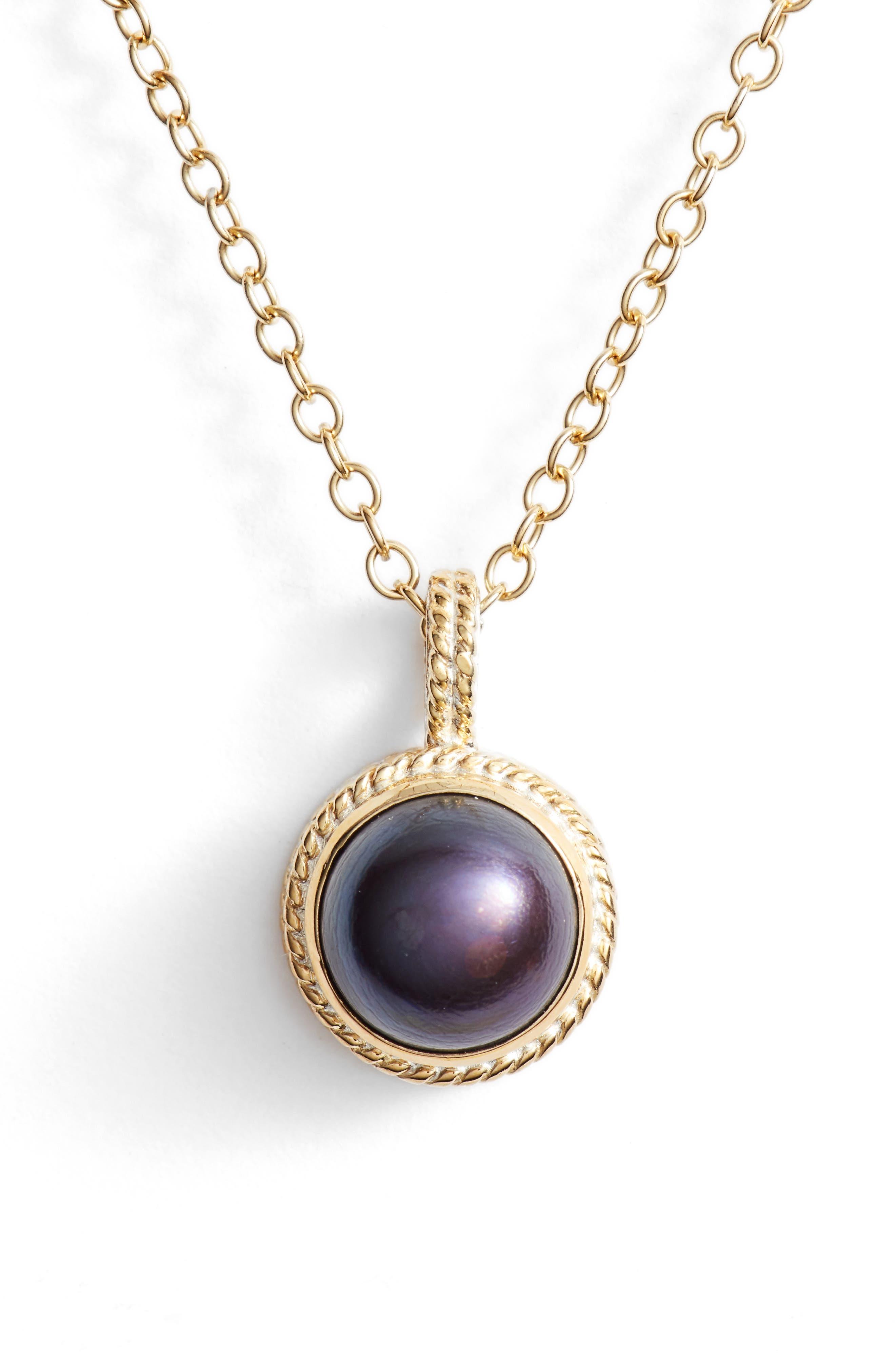 Genuine Blue Pearl Pendant Necklace,                             Main thumbnail 1, color,                             400