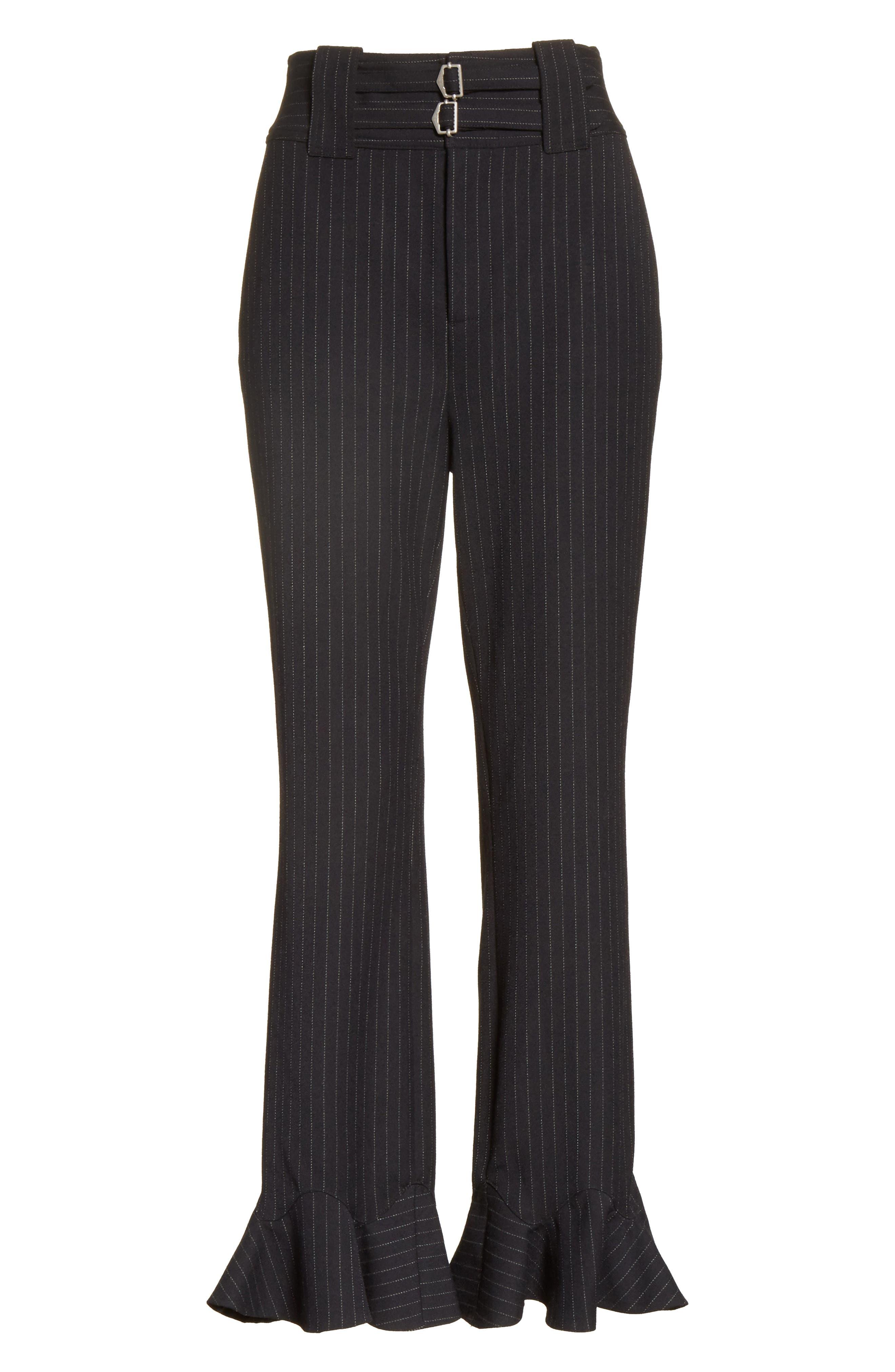 Pinstripe Ruffle Pants,                             Alternate thumbnail 6, color,                             482