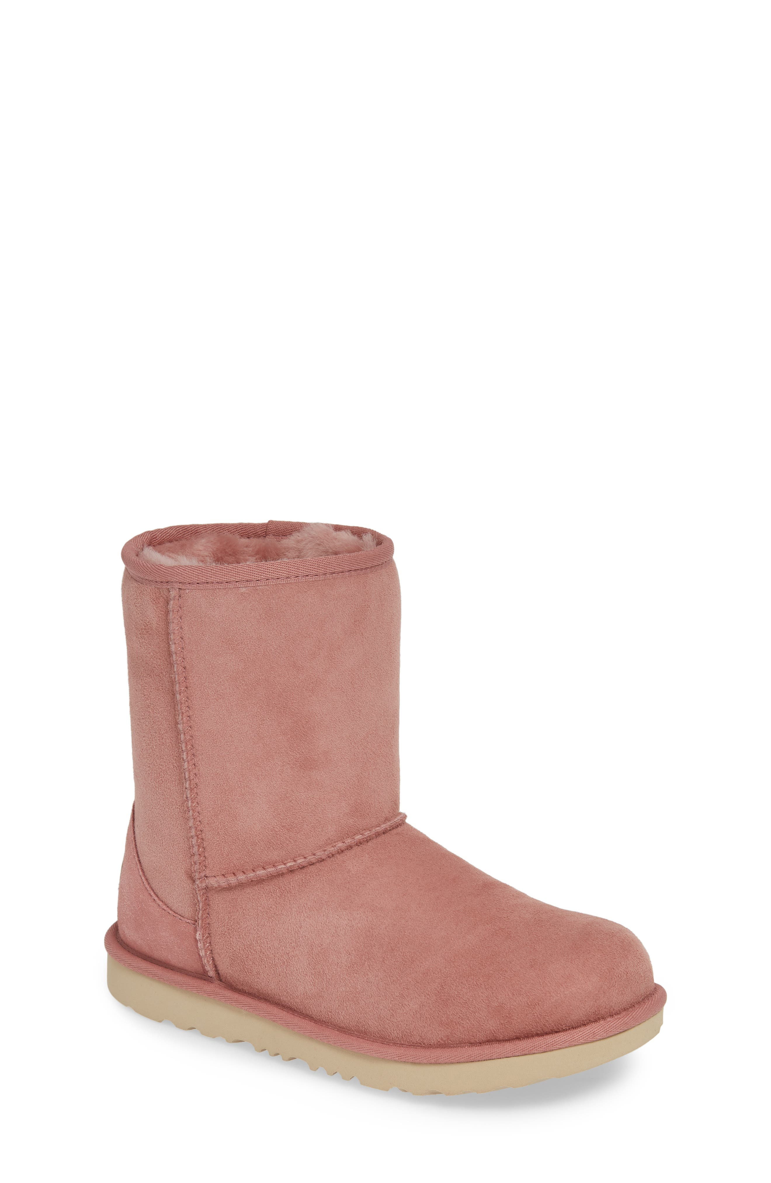 Classic Short II Water Resistant Genuine Shearling Boot,                             Main thumbnail 1, color,                             PINK DAWN
