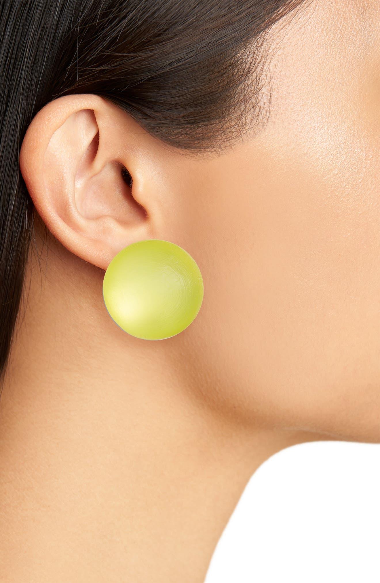 Lucite<sup>®</sup> Medium Dome Clip Earrings,                             Alternate thumbnail 6, color,