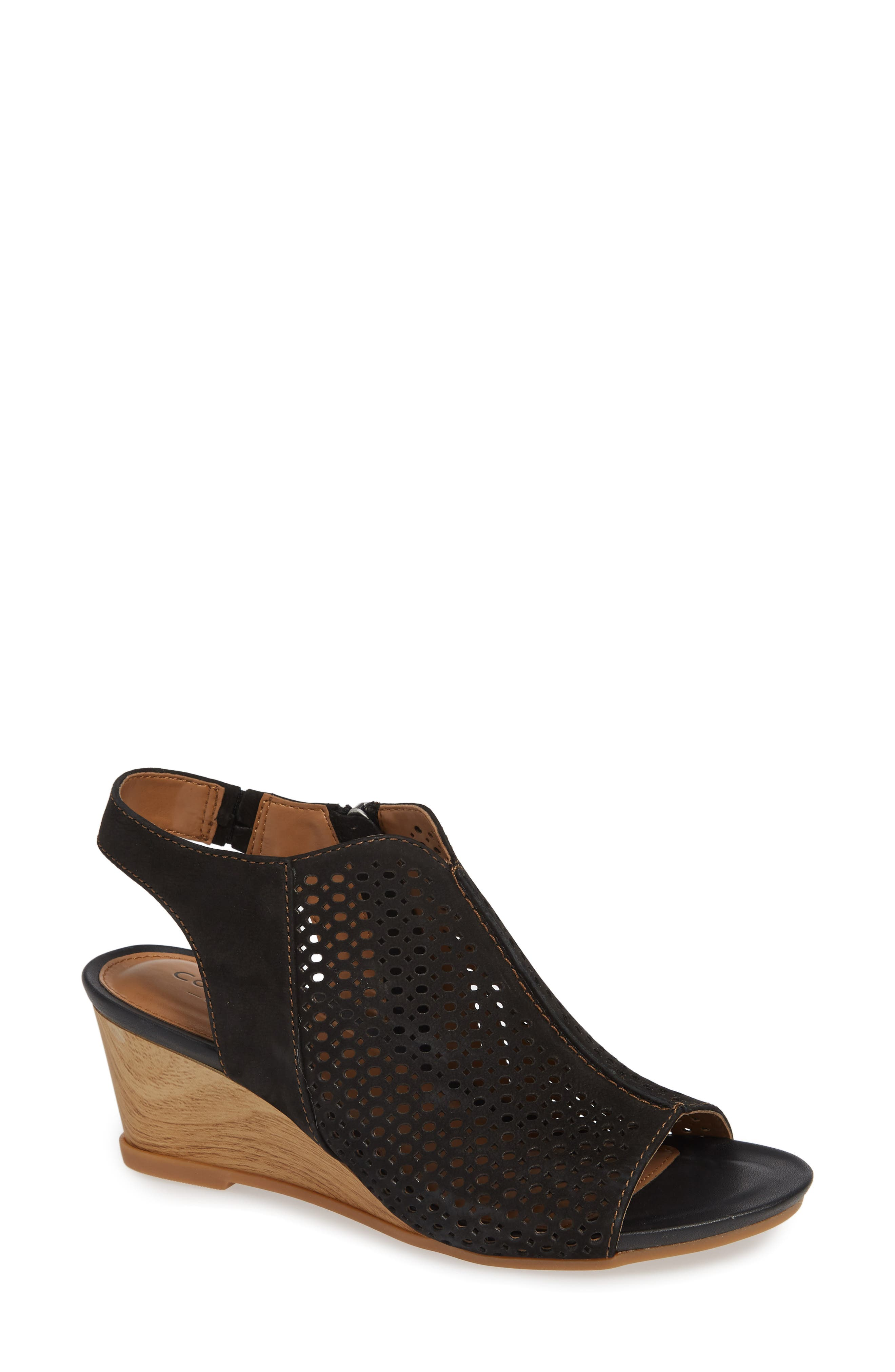 Skylyn Wedge Sandal, Main, color, BLACK NUBUCK LEATHER