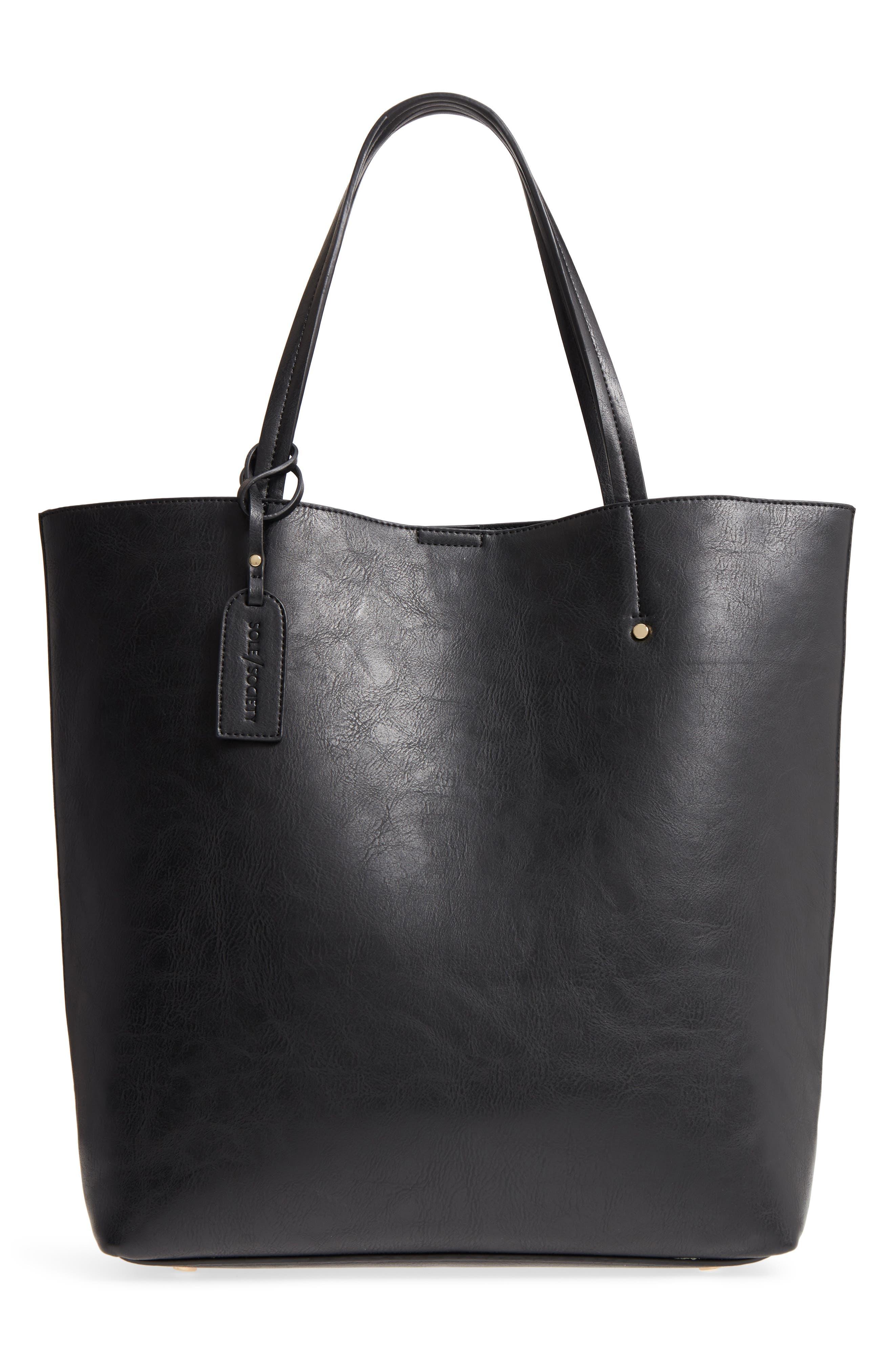 Nuddo Faux Leather Tote,                         Main,                         color, BLACK
