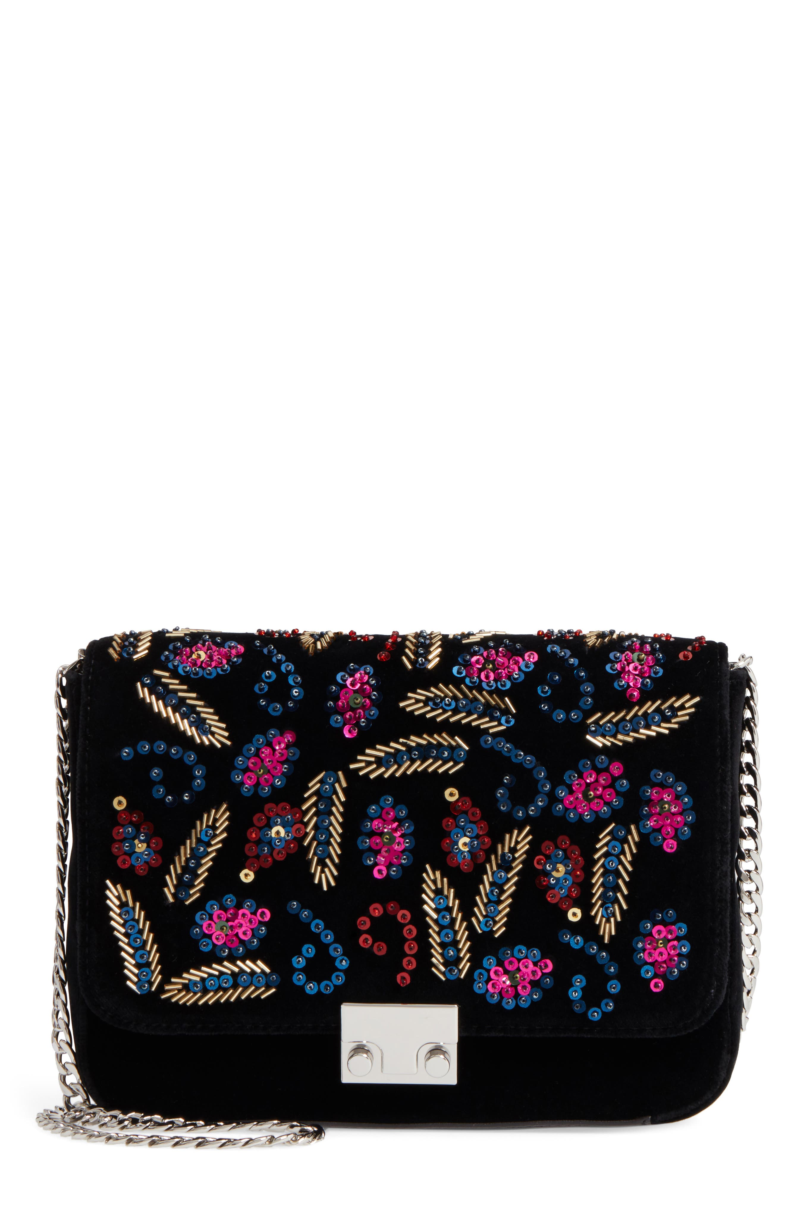 Loeffler Randal Lock Sequin Shoulder Bag,                             Main thumbnail 1, color,