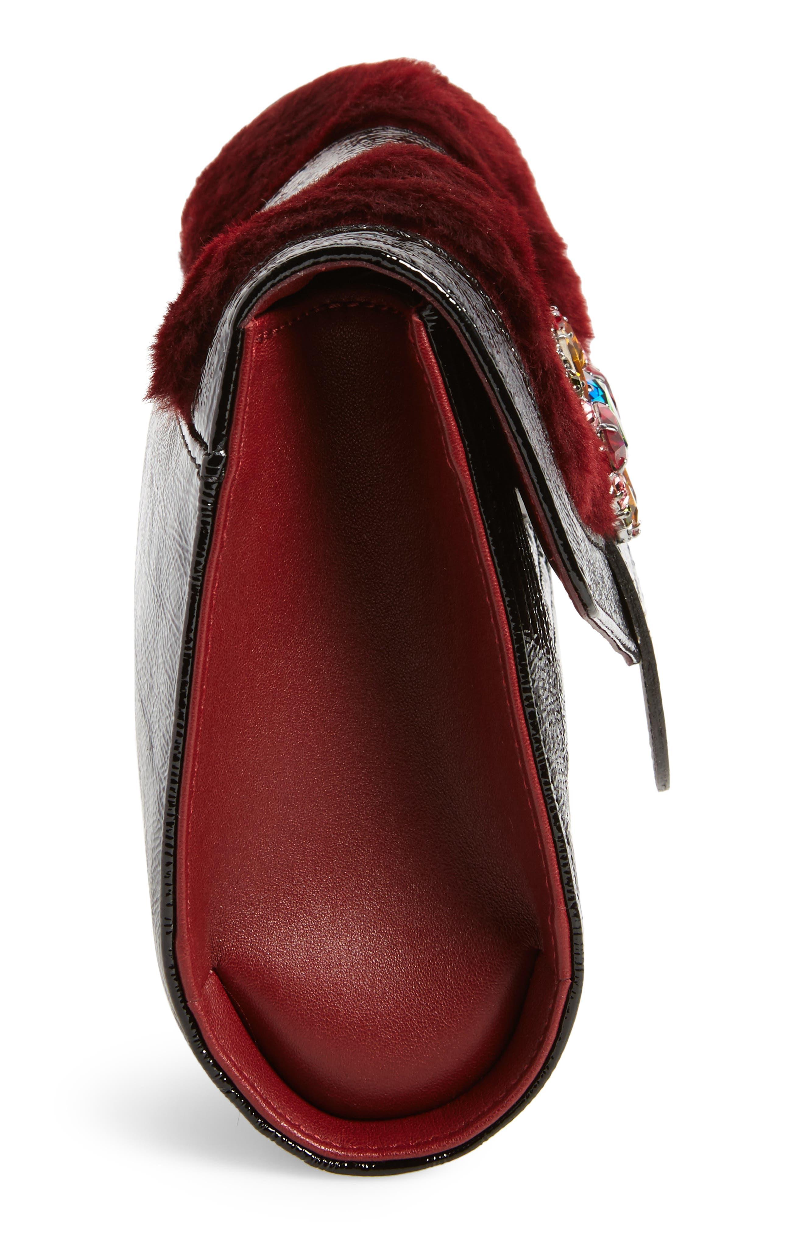 La Baronne Genuine Shearling Trim Leather Clutch,                             Alternate thumbnail 5, color,