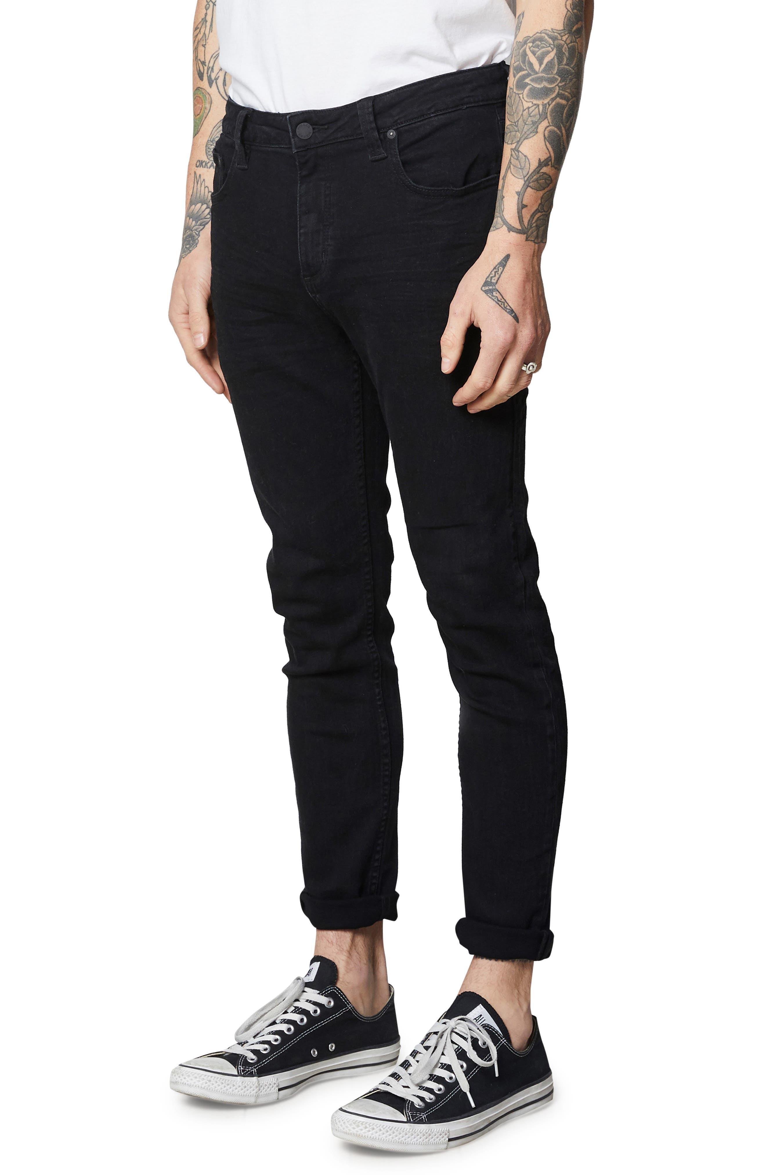 Rollies Slim Fit Jeans,                             Alternate thumbnail 3, color,                             BLACK RAVEN