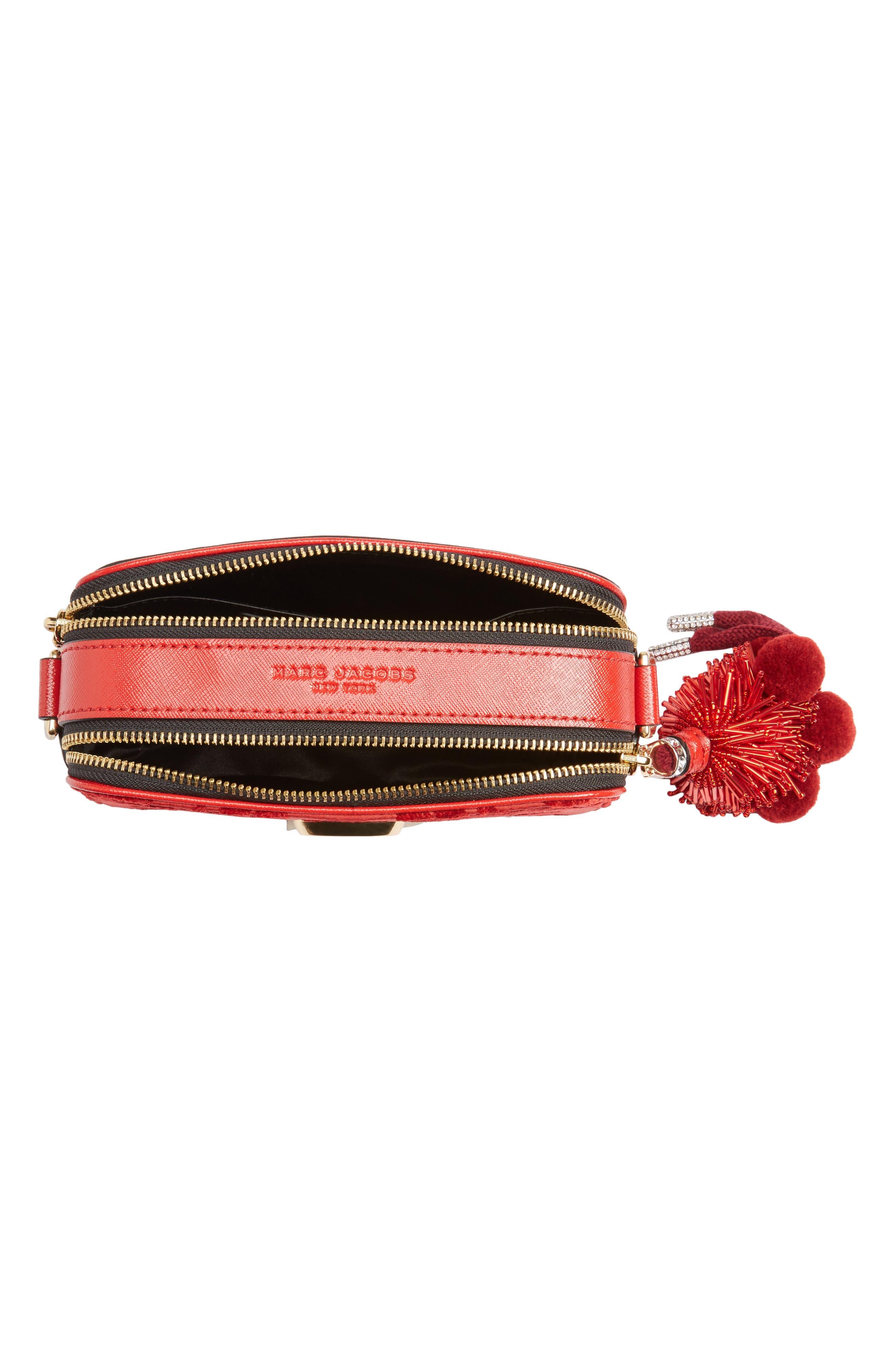 Snapshot Jacquard Crossbody Bag,                             Alternate thumbnail 4, color,                             RED