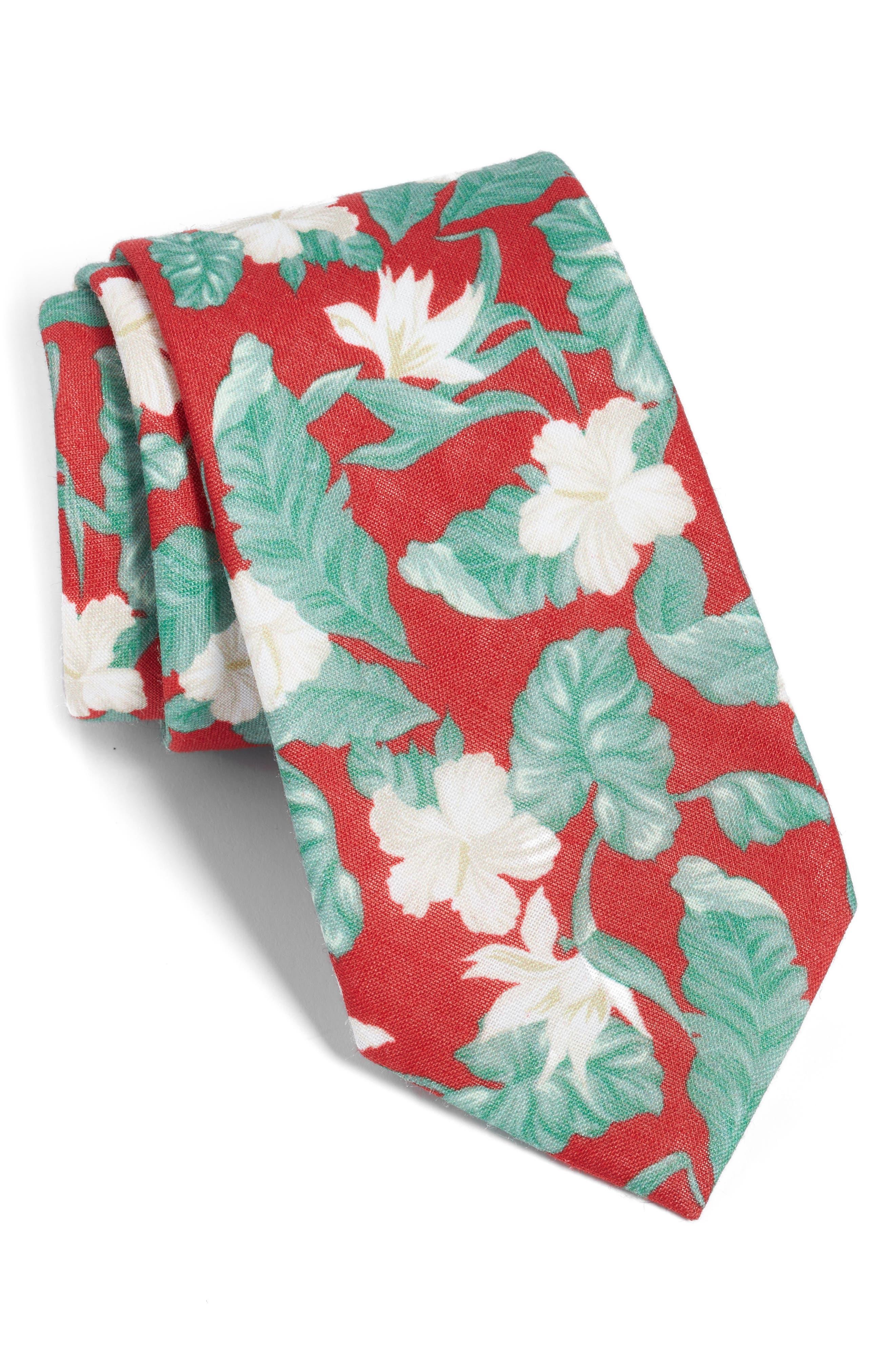 Floral Linen Tie,                             Main thumbnail 1, color,                             RED