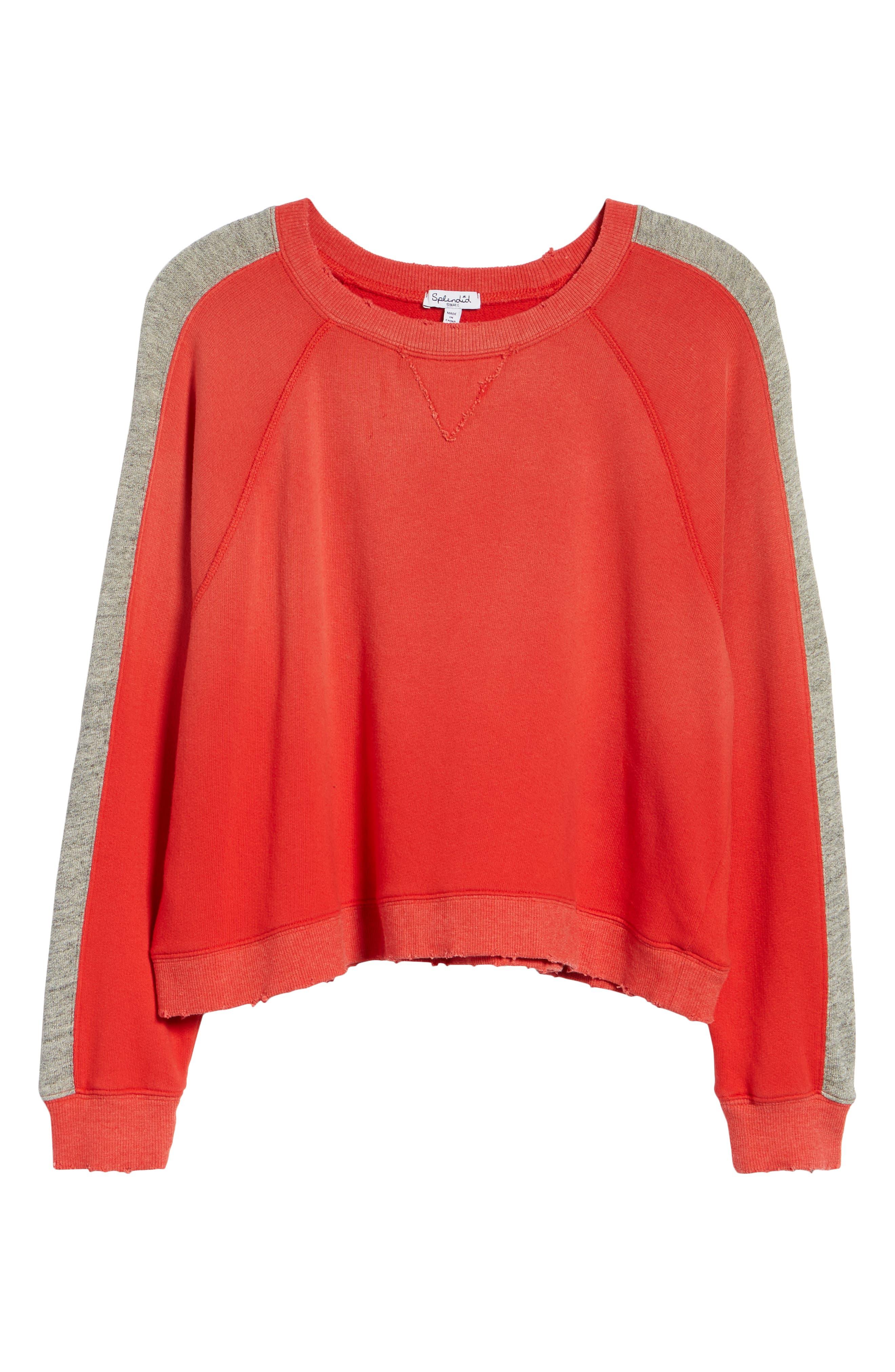 Varsity Stripe Sweatshirt,                             Alternate thumbnail 6, color,                             ROUGE