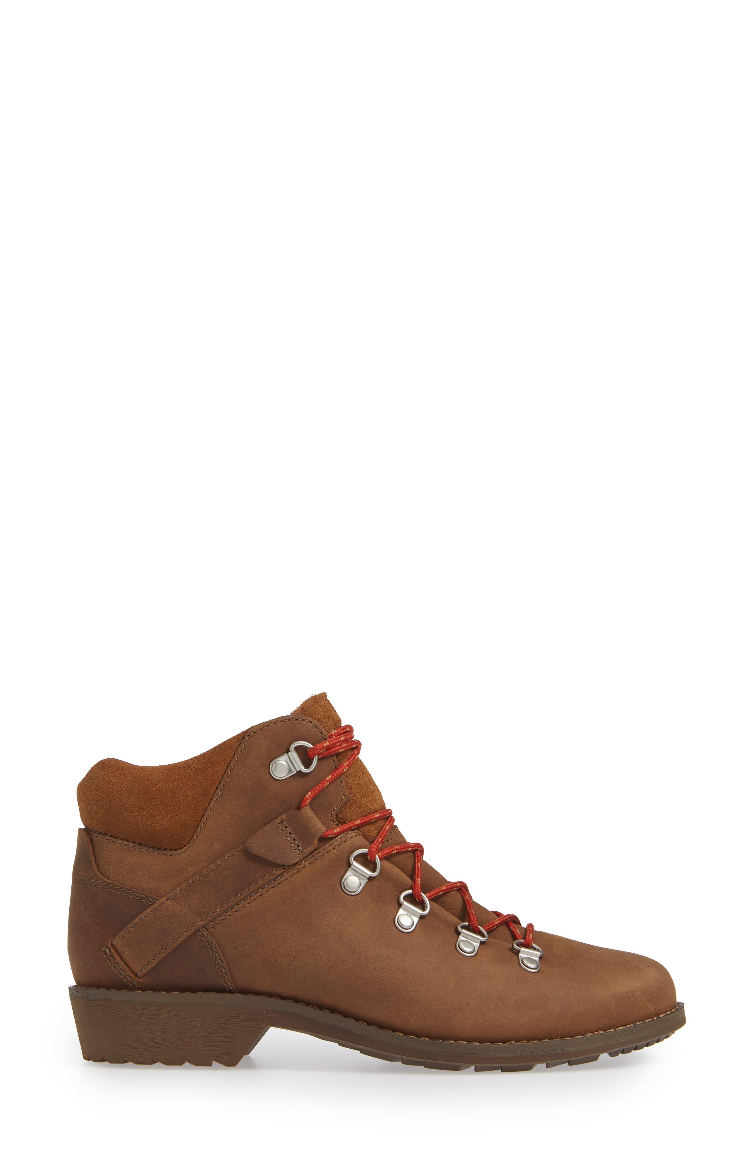 De La Vina Dos Alpine Waterproof Low Boot,                             Alternate thumbnail 3, color,                             PECAN LEATHER