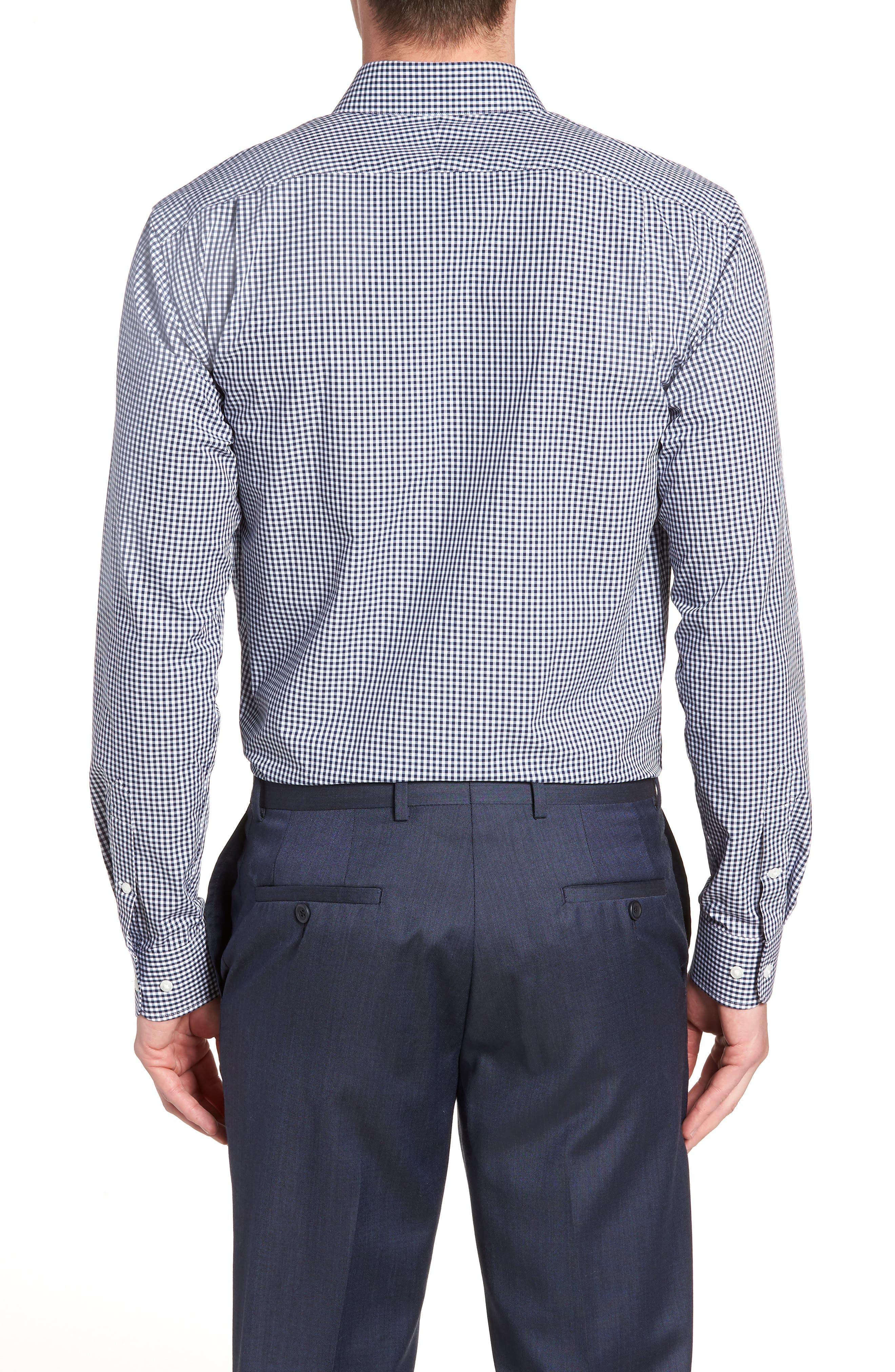 Trim Fit Check Dress Shirt,                             Alternate thumbnail 3, color,                             410
