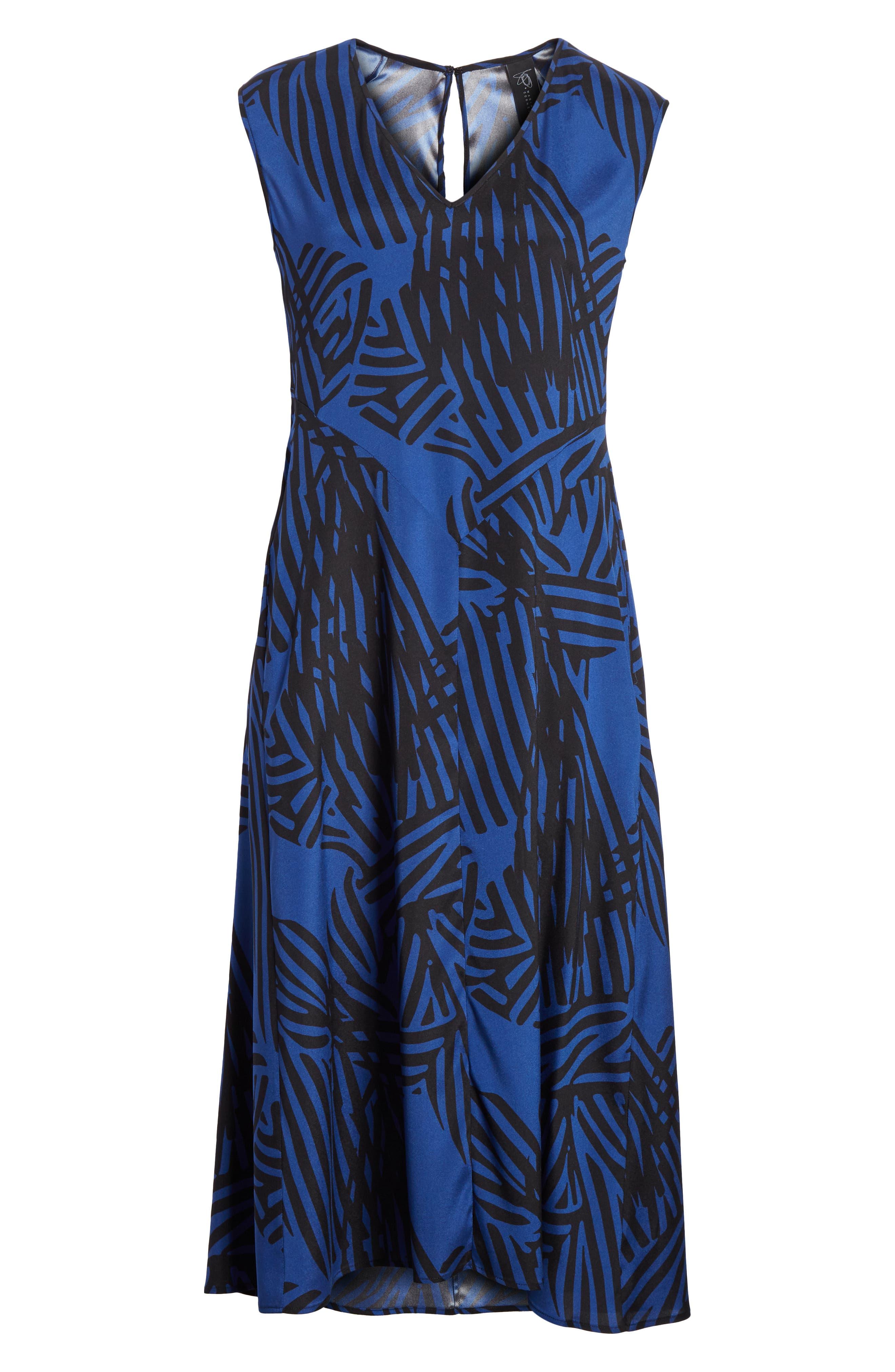 Ribbon Print Stretch Silk Dress,                             Alternate thumbnail 6, color,                             400