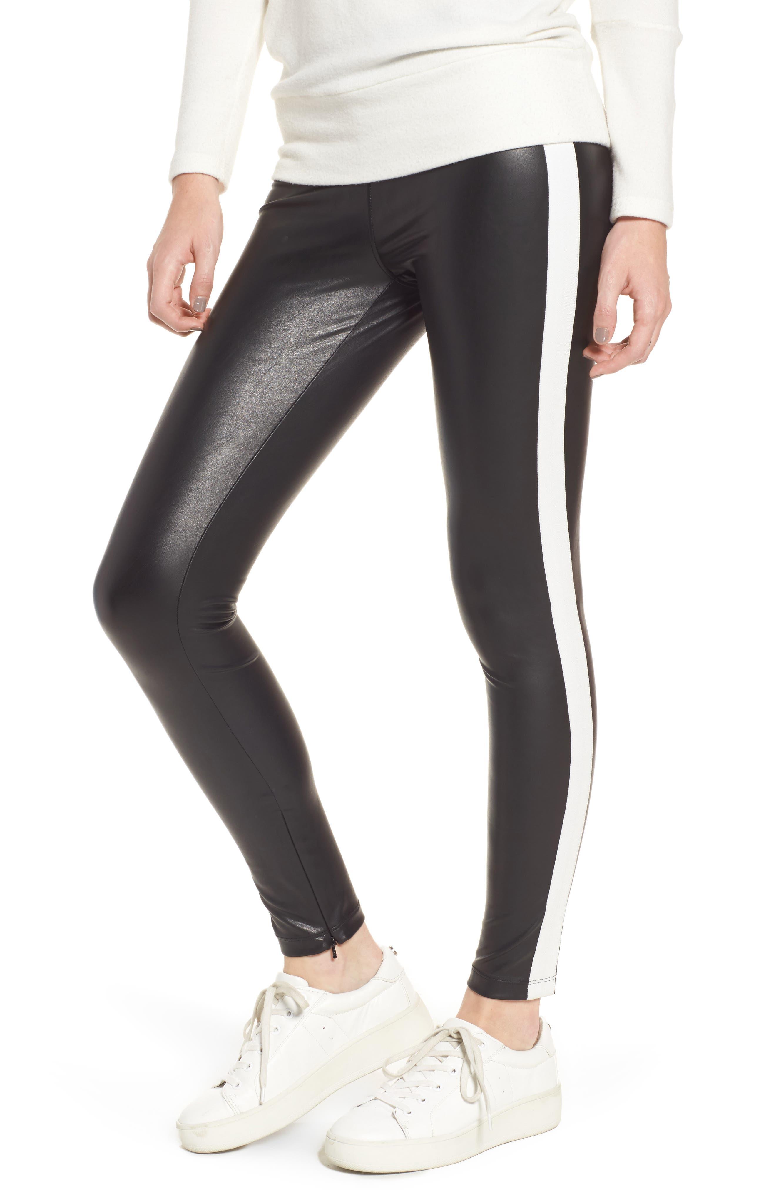 Tuxedo Stripe Zip Faux Leather Leggings,                             Main thumbnail 1, color,