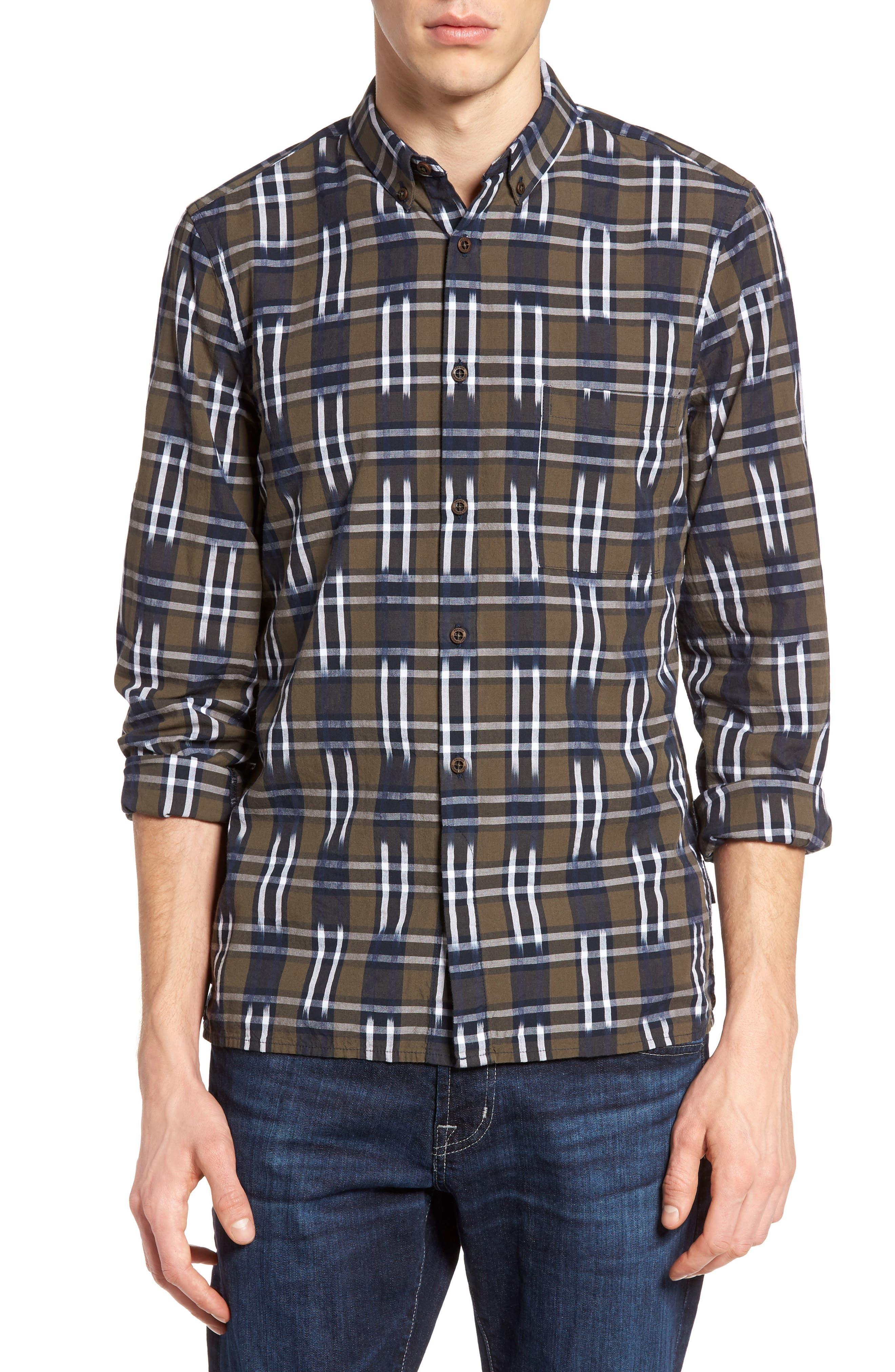 Slim Fit Ikat Check Sport Shirt,                             Main thumbnail 1, color,                             250