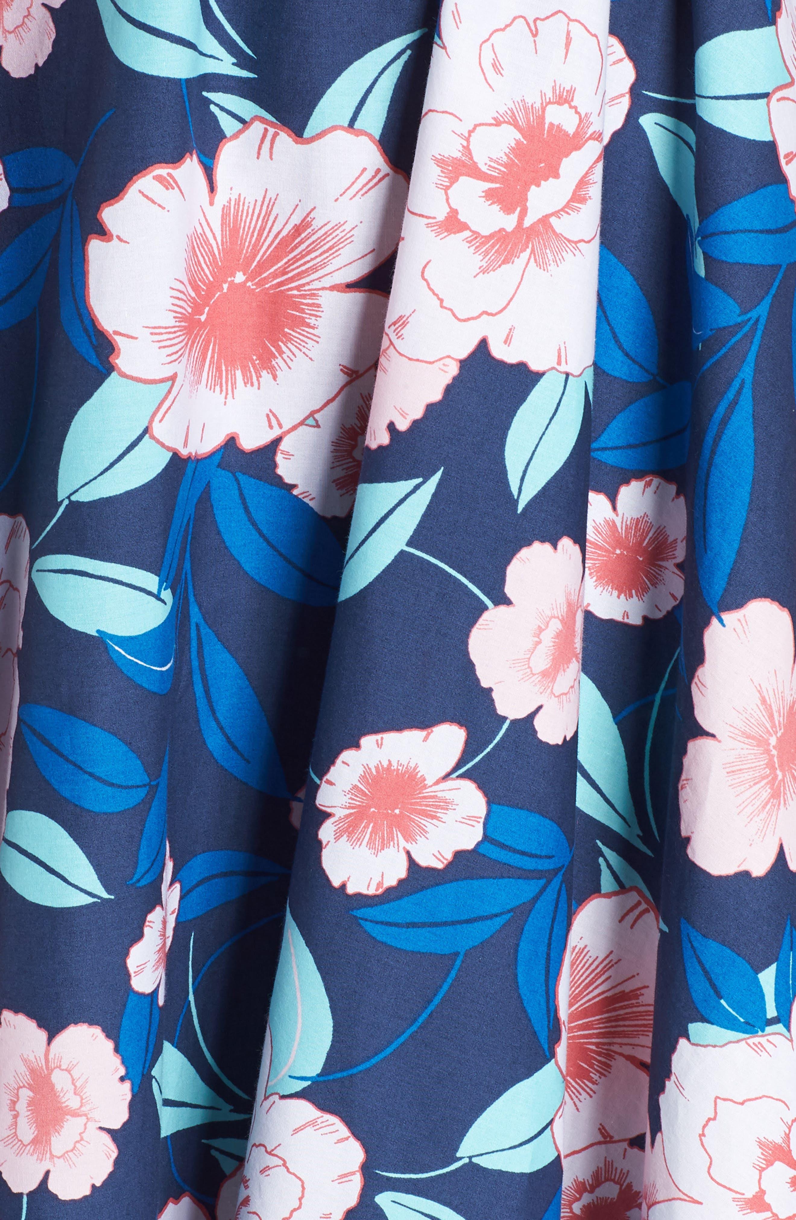 Floral Fit & Flare Halter Dress,                             Alternate thumbnail 6, color,                             410