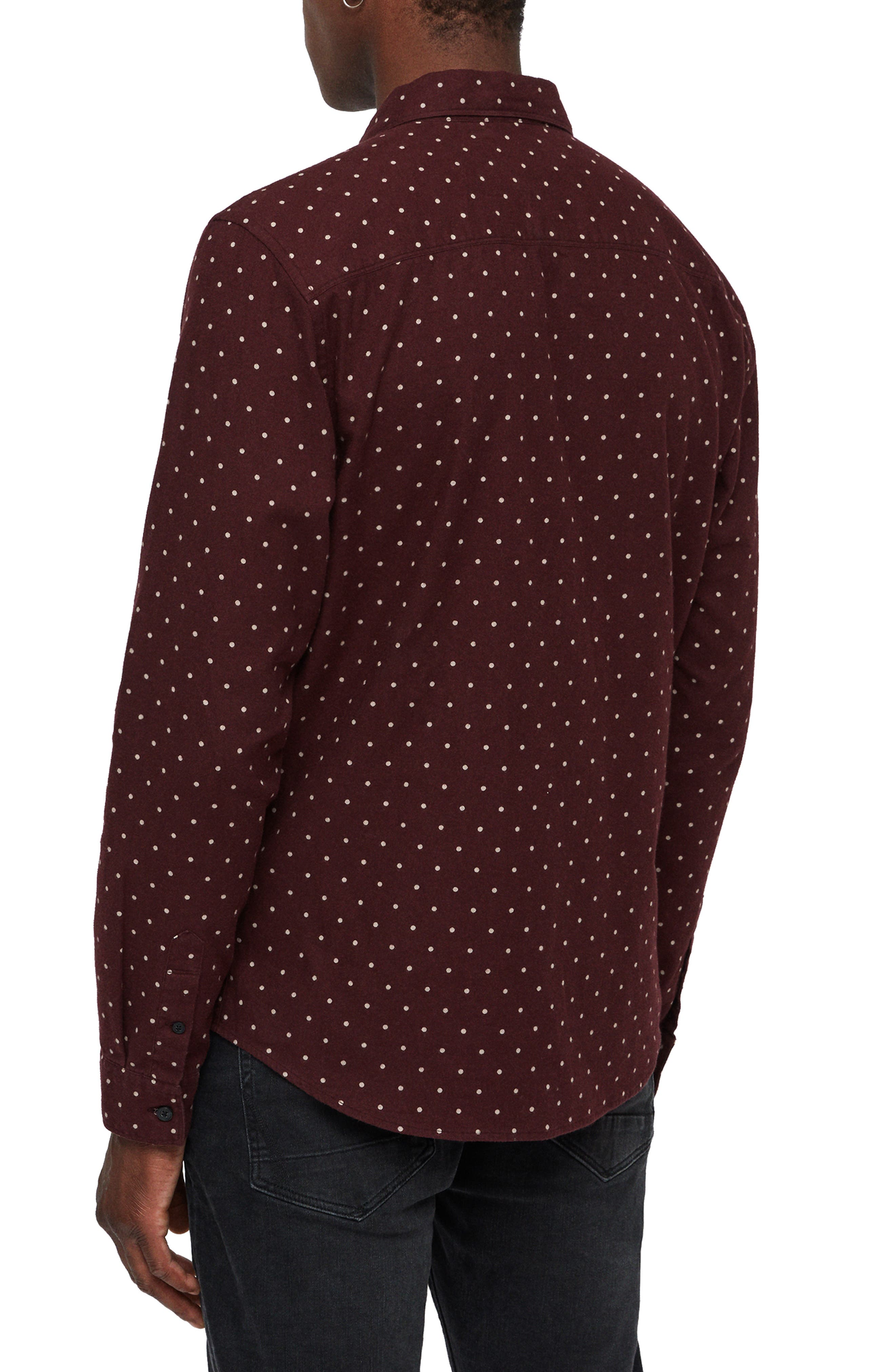 Bethel Slim Fit Dot Flannel Shirt,                             Alternate thumbnail 3, color,                             DARK RUST/ ECRU