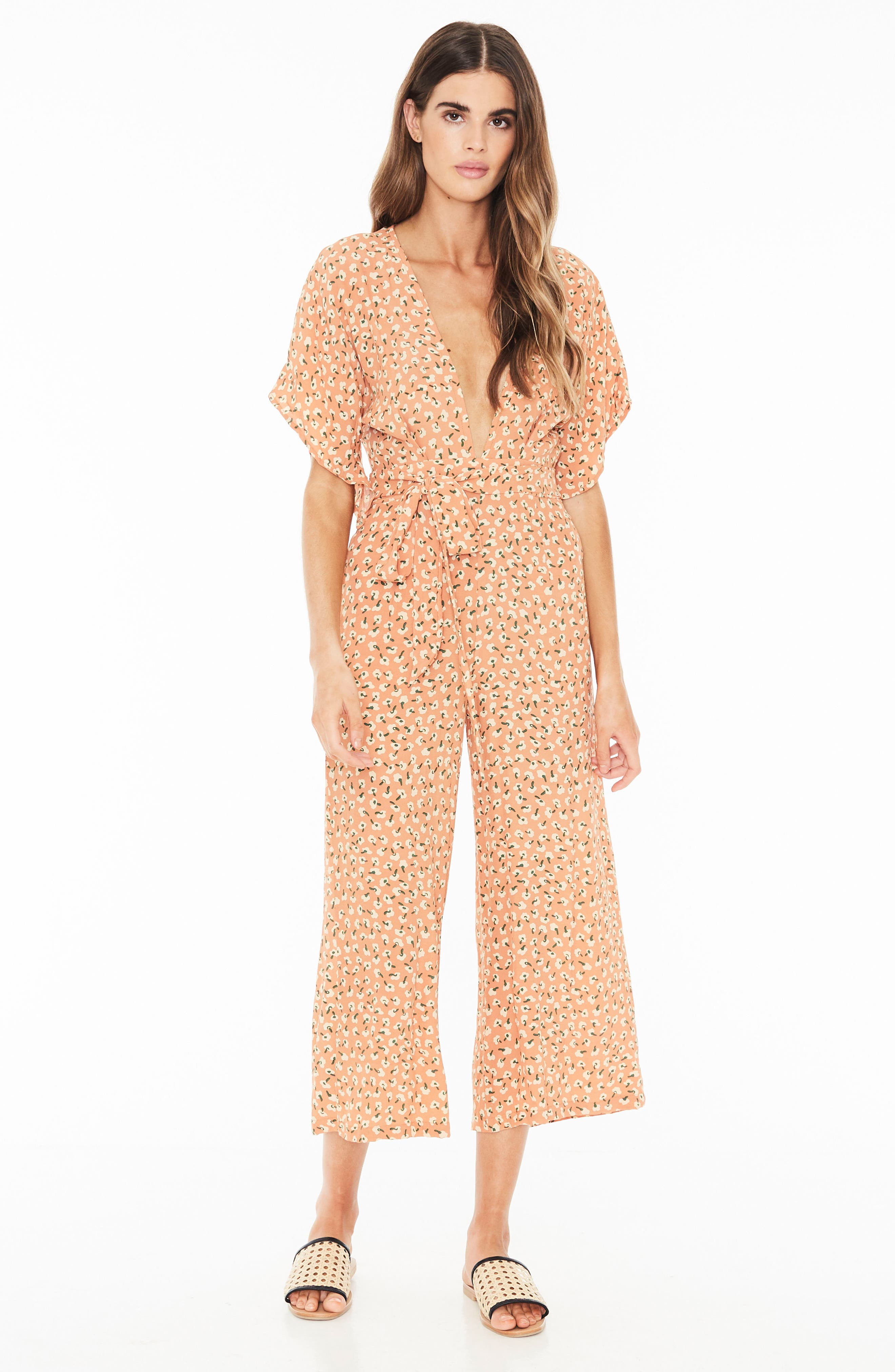 Cedric Plunging Crop Jumpsuit,                             Alternate thumbnail 4, color,                             800