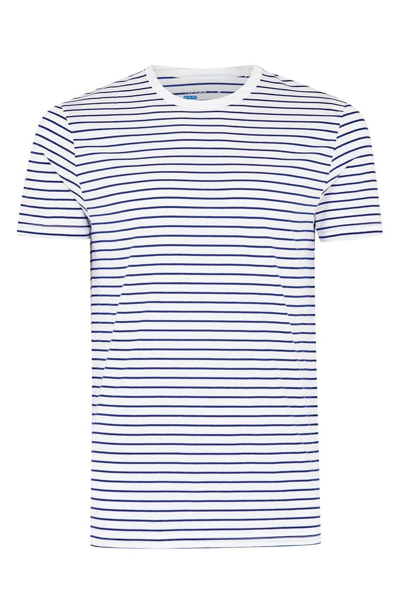 Slim Fit Stripe T-Shirt,                             Alternate thumbnail 3, color,                             DARK BLUE MULTI