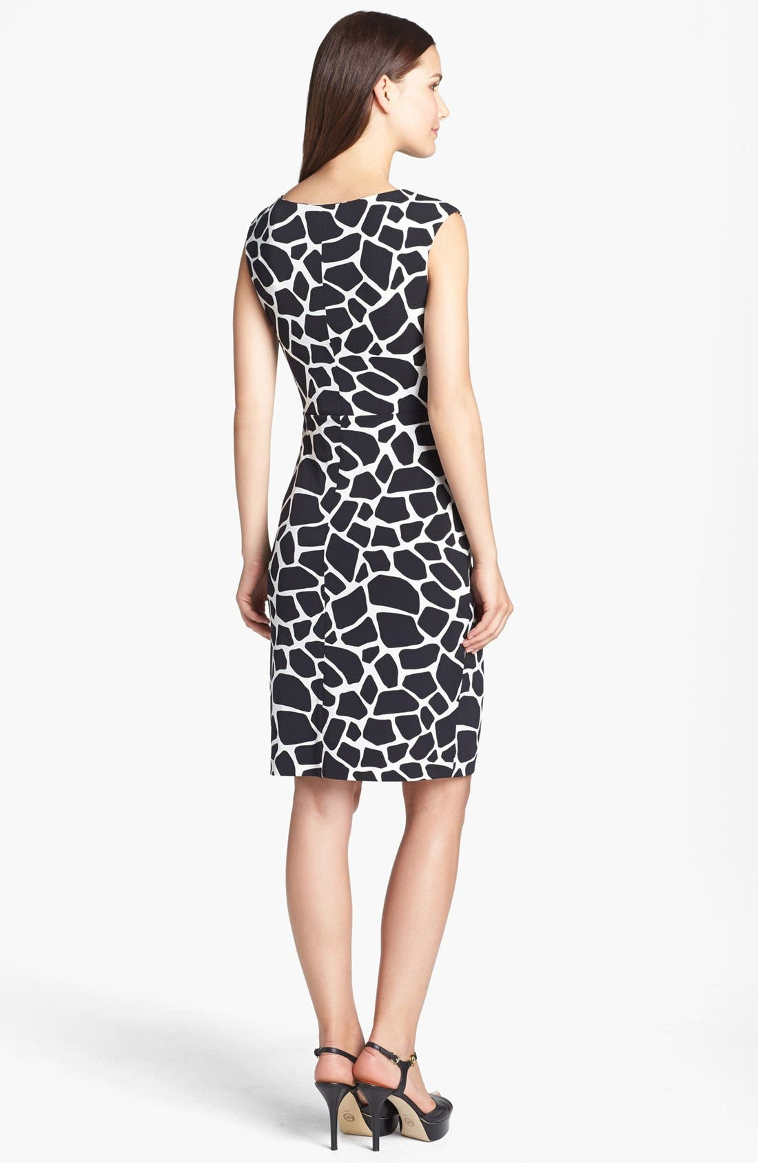 Modern Giraffe Print Dress,                             Alternate thumbnail 4, color,                             001
