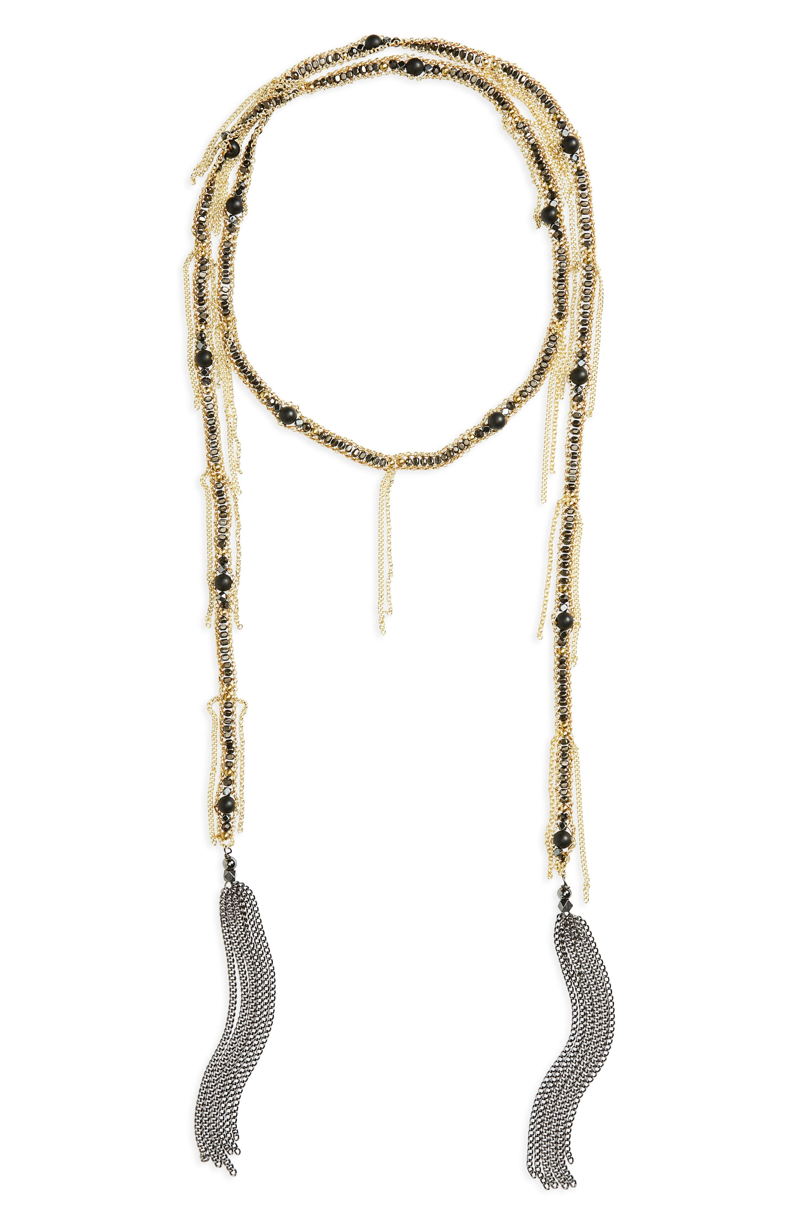 Chain Fringe Lariat Necklace,                             Main thumbnail 1, color,                             001